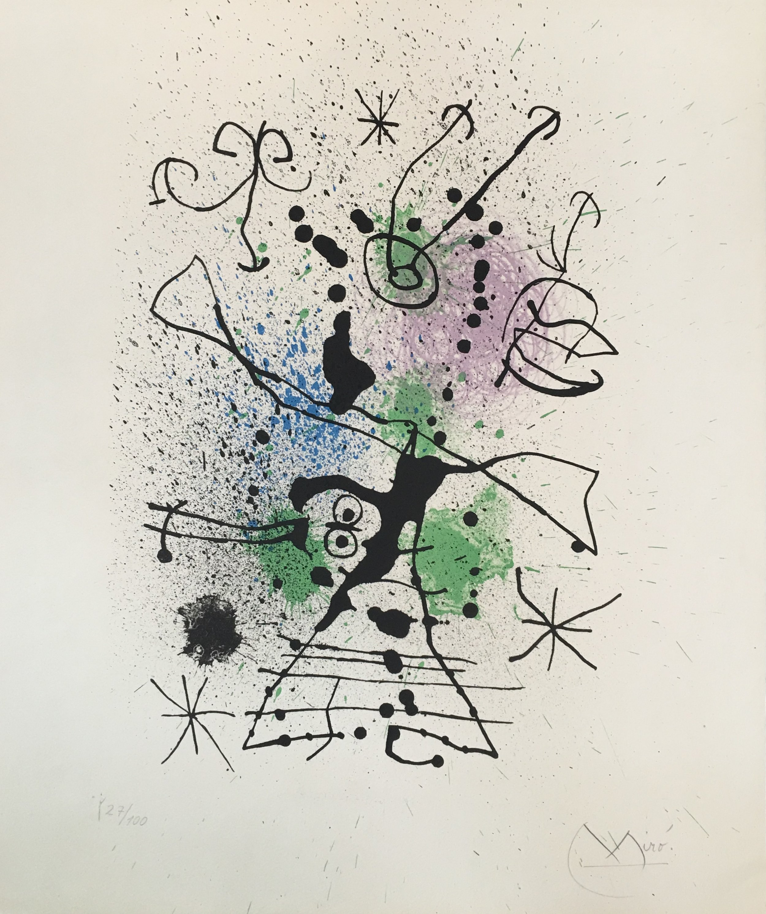 Lithograph with black, green, purple and blue titled,  The Huntress  by Joan Miró