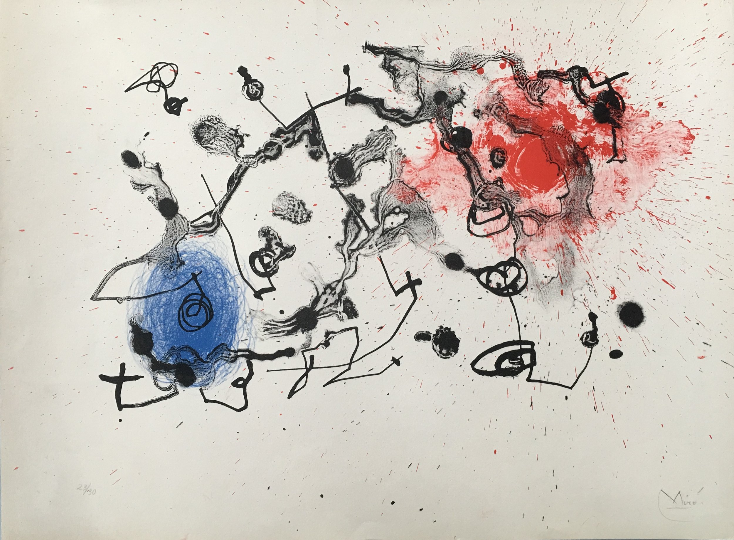 Lithograph titled,  Series II, Blue and Red  by Joan Miró