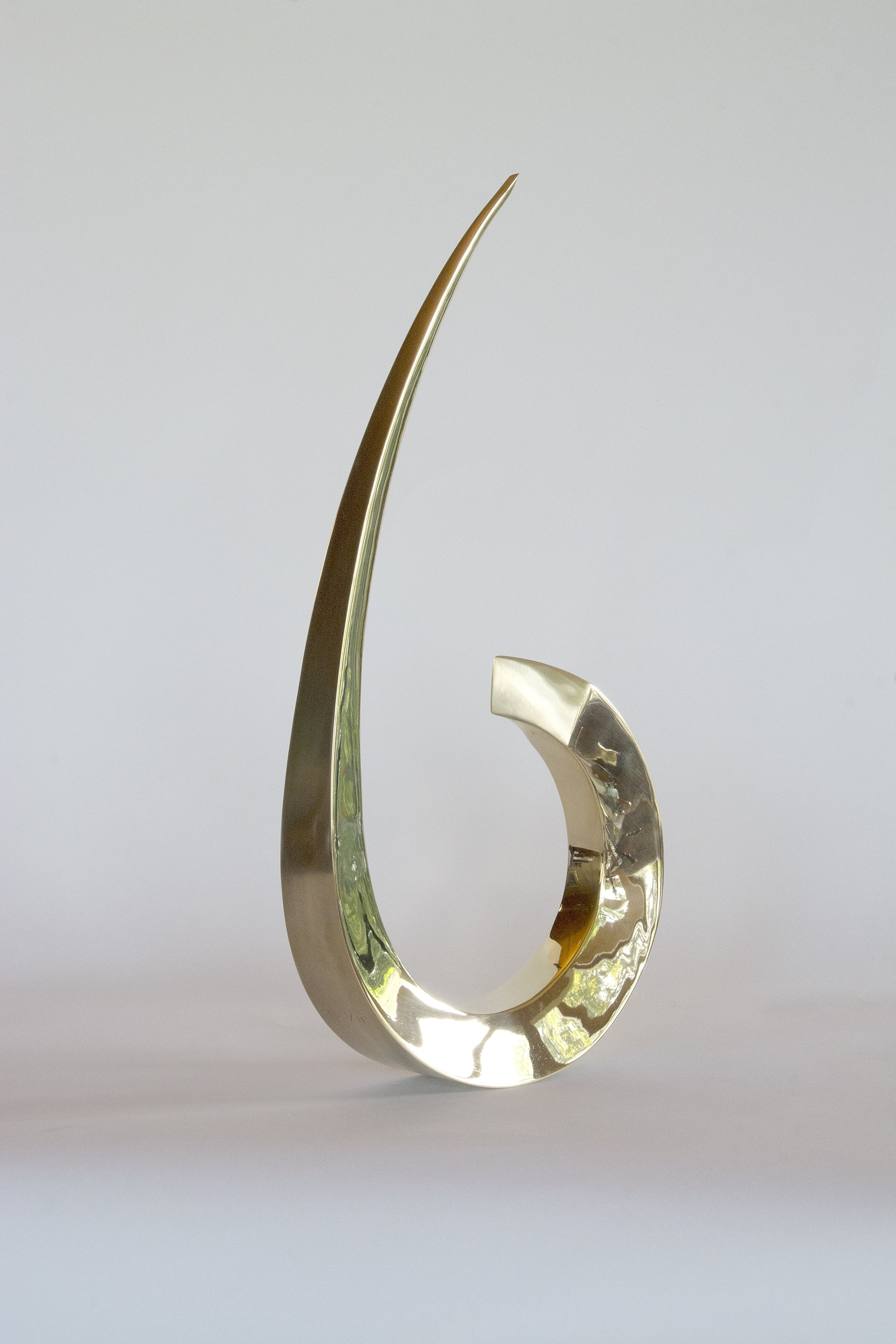 Polished and brushed brass kinetic sculpture, alternative view