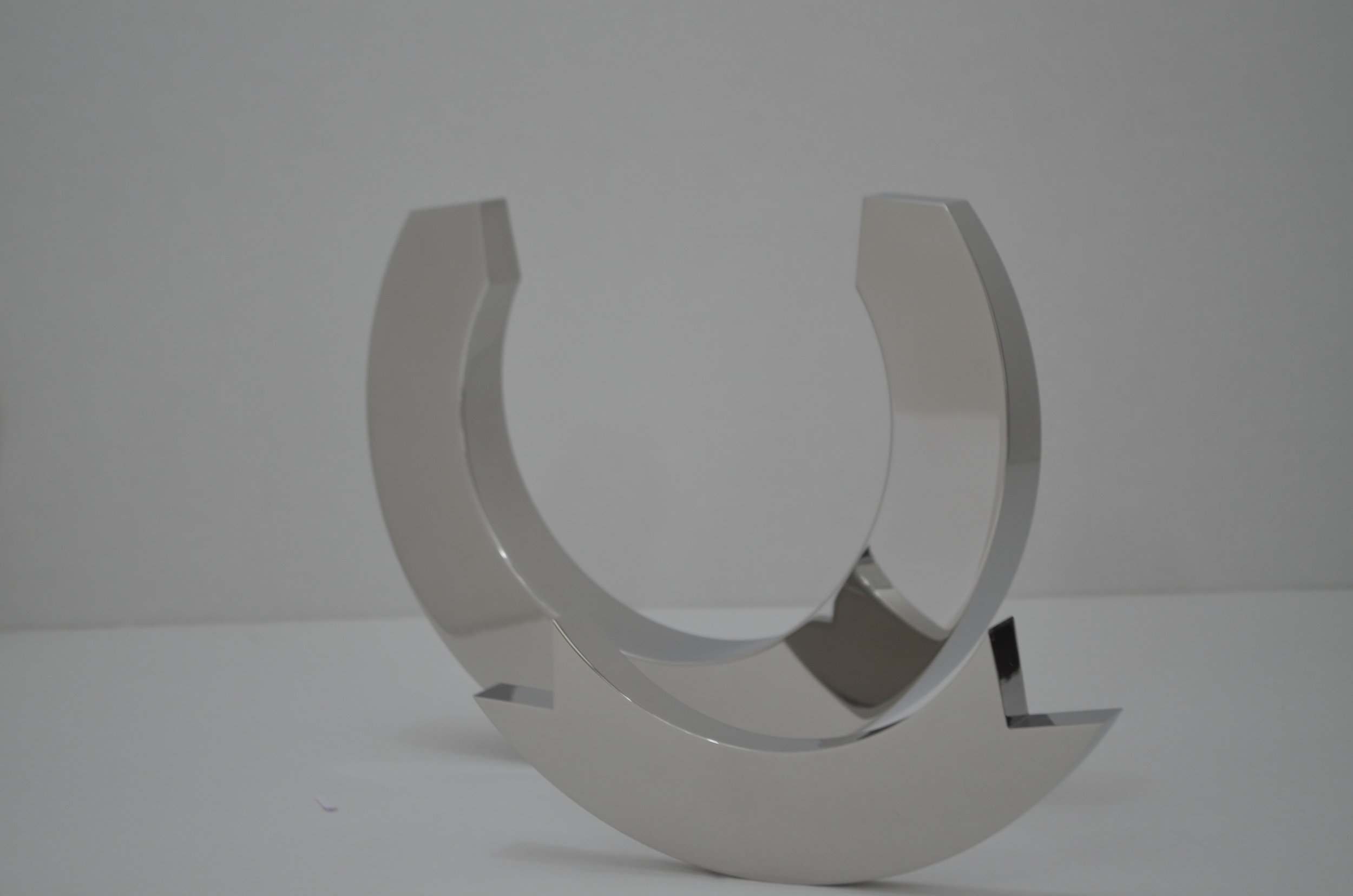 Second view of steel kinetic sculpture in two pieces