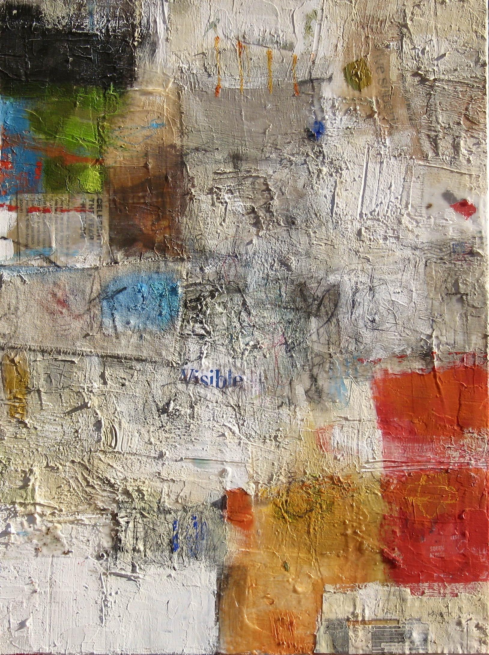 mixed media on canvas by tamar kander, re-view