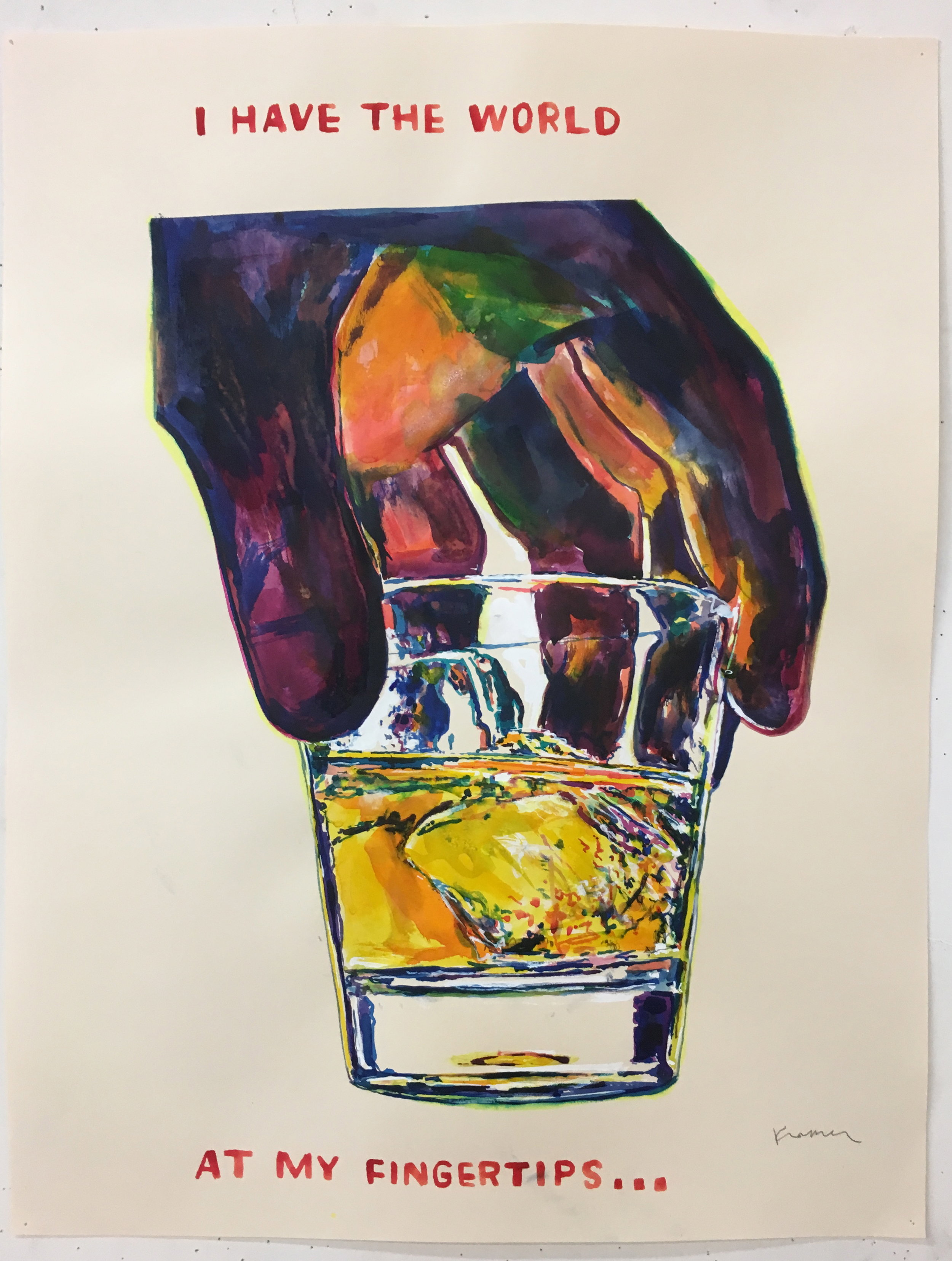 painting of a glass of bourbon on paper by David Kramer
