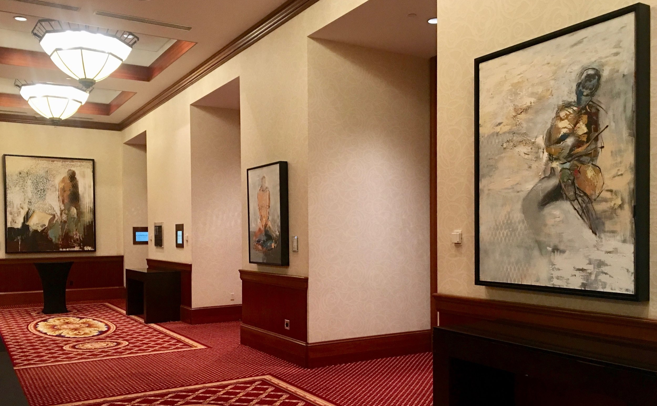 Image of newly installed works by Jason Myers at Conrad Indianapolis on the second floor
