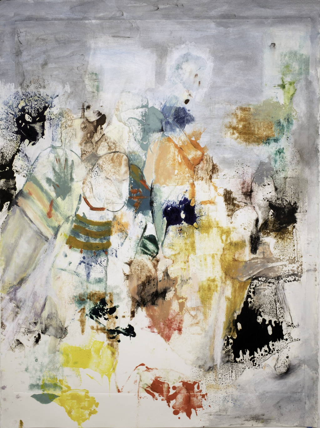 oil paint, oil sticks and colored pencil on paper work titled, Samarai by Sabina Klein
