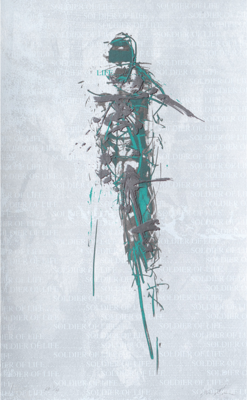 figurative screenprint in eight colors on paper by Jason Myers,  Soldiers of Life (Earth)