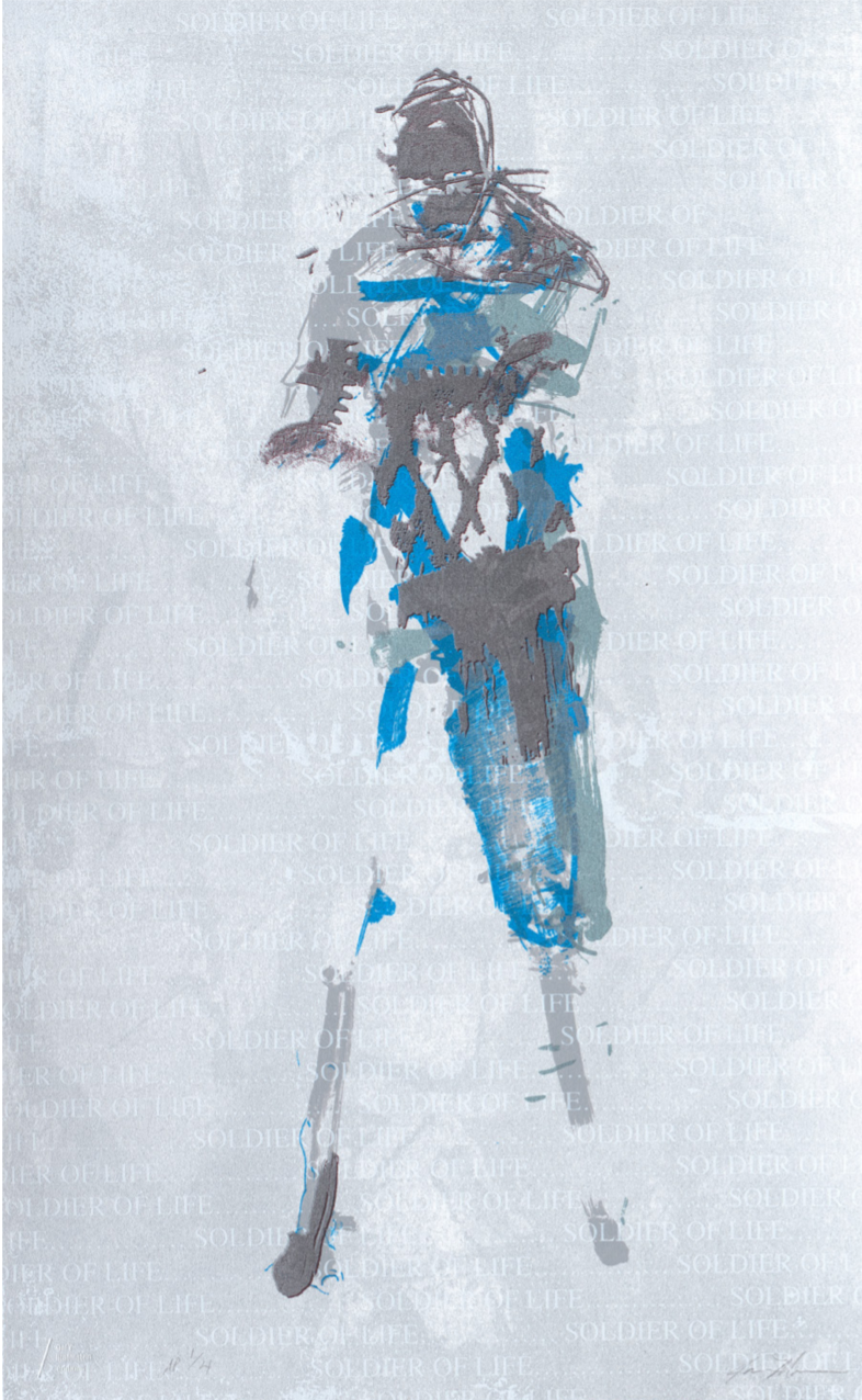 figurative screenprint in eight colors on paper by Jason Myers,  Soldiers of Life (Water)