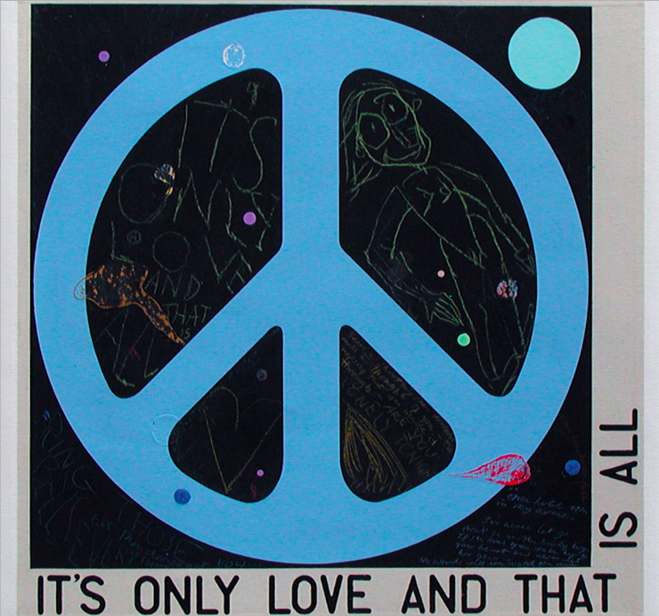 it's only love and that is all by david spiller; acrylic and pencil on stitched canvas