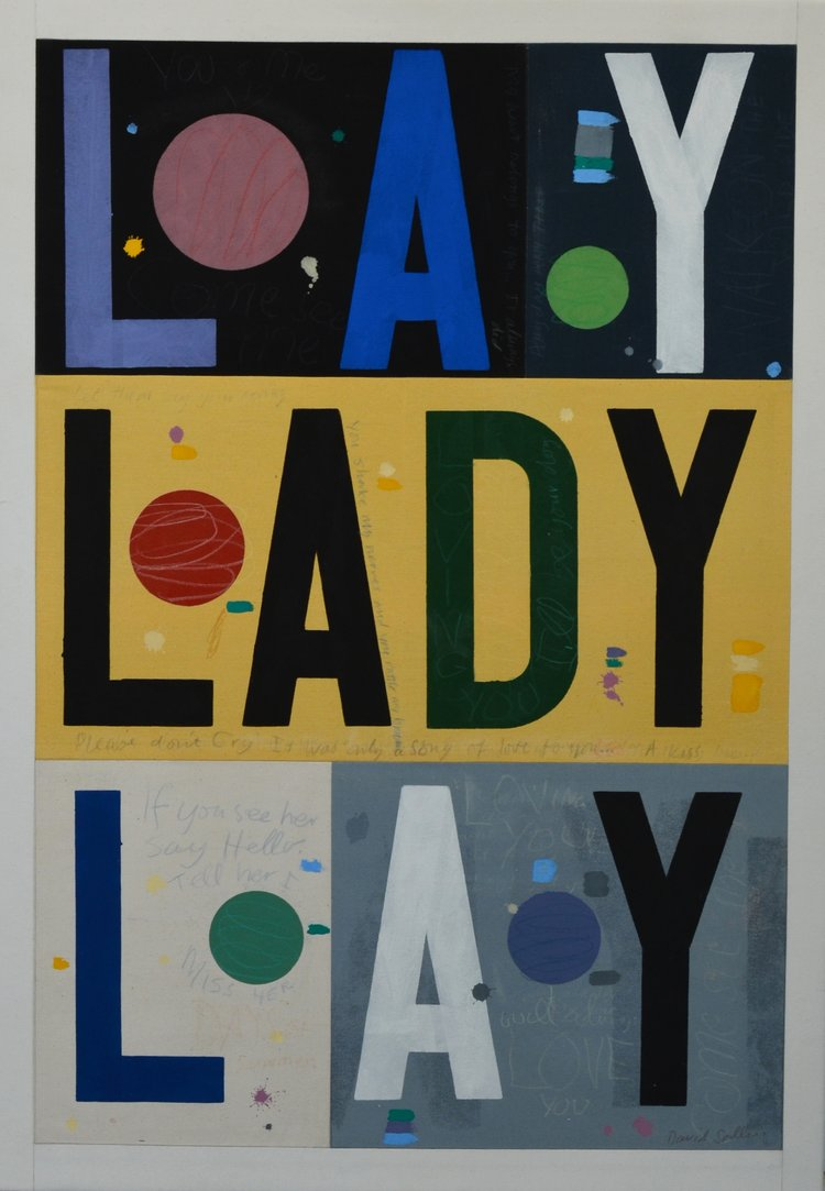 lay lady lay by david spiller; acrylic and pencil on stitched canvas