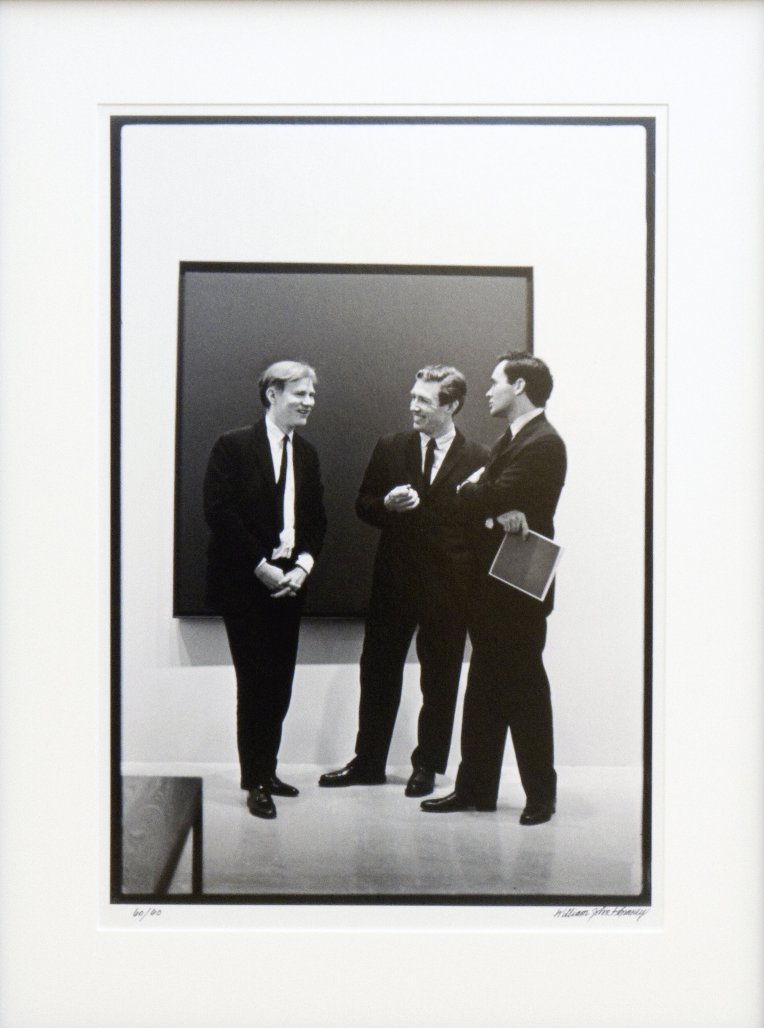 Silver gelatin fiber print by William John Kennedy, titled Andy Warhol, Mario Amaya and Robert Indiana