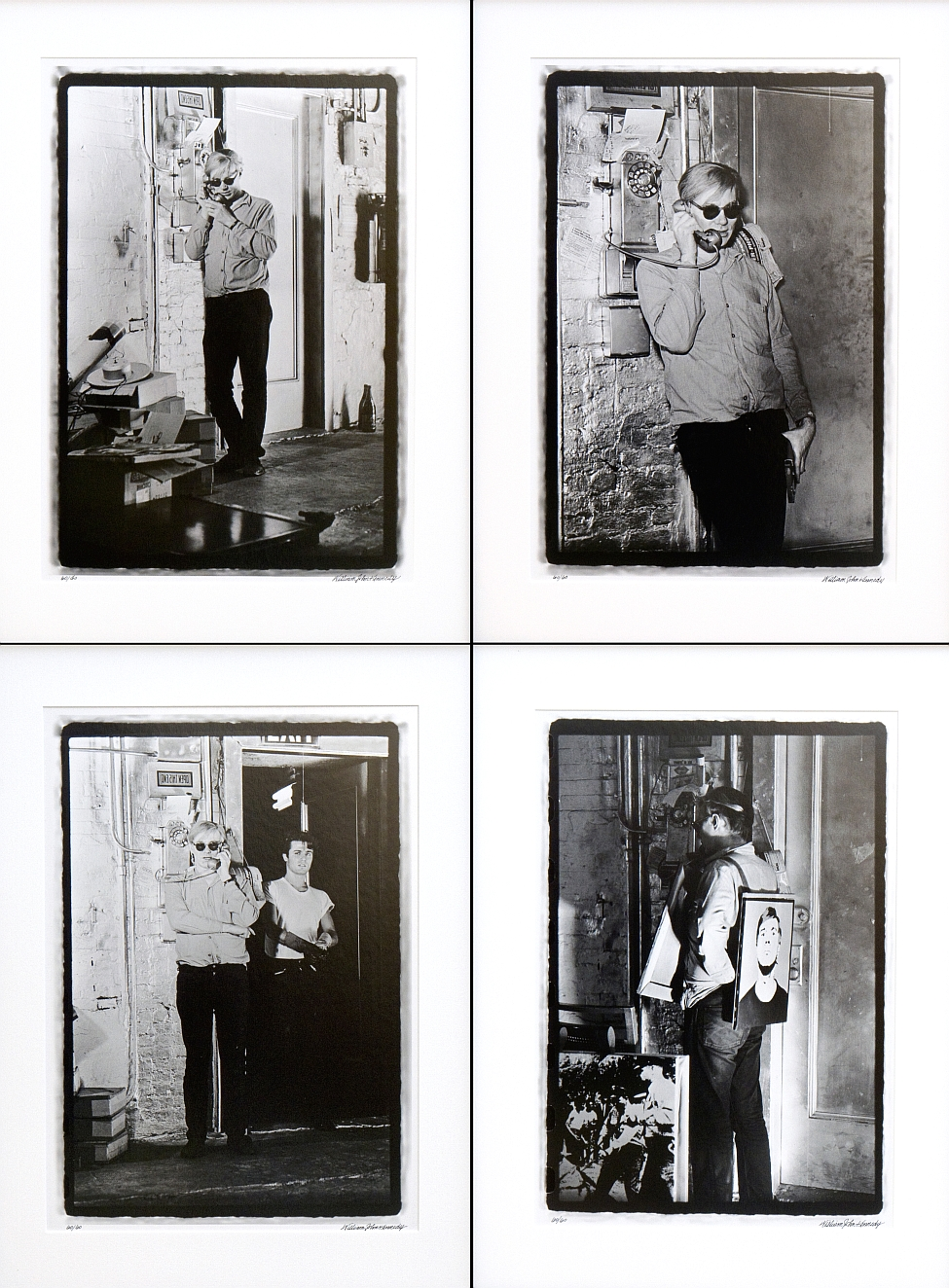Silver gelatin fiber print by William John Kennedy, titled Warhol Factory Telephone Suite I-IV
