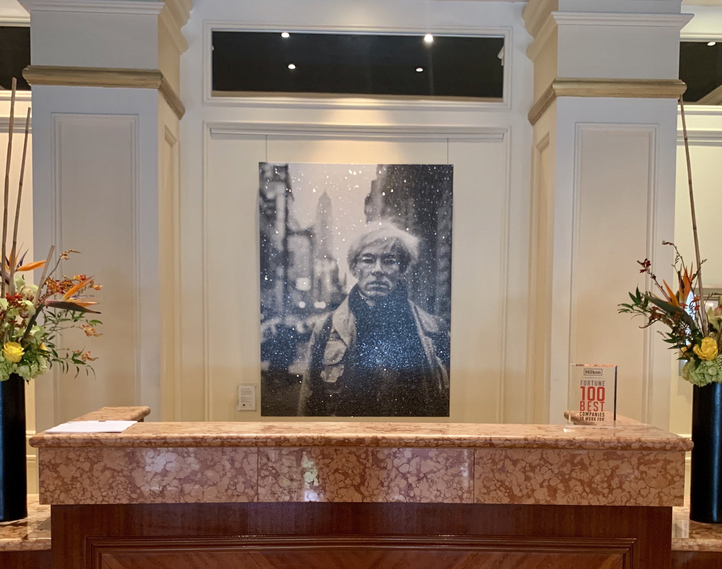 Andy Warhol diamond dusted portrait by Russell Young in the Conrad Indianapolis hotel lobby