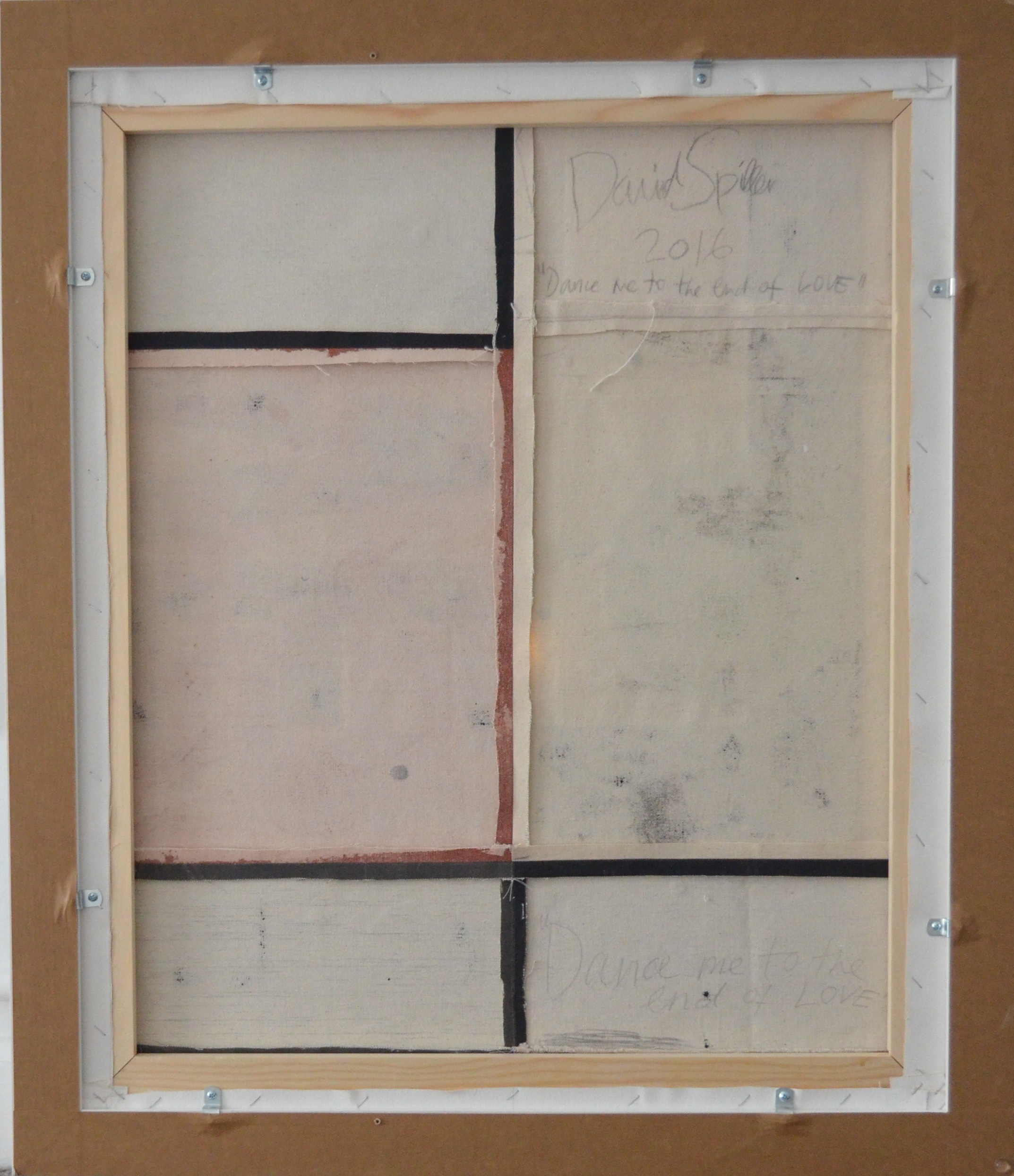 verso of dance me to the end of love by david spiller showing the stitched canvas panels and frame