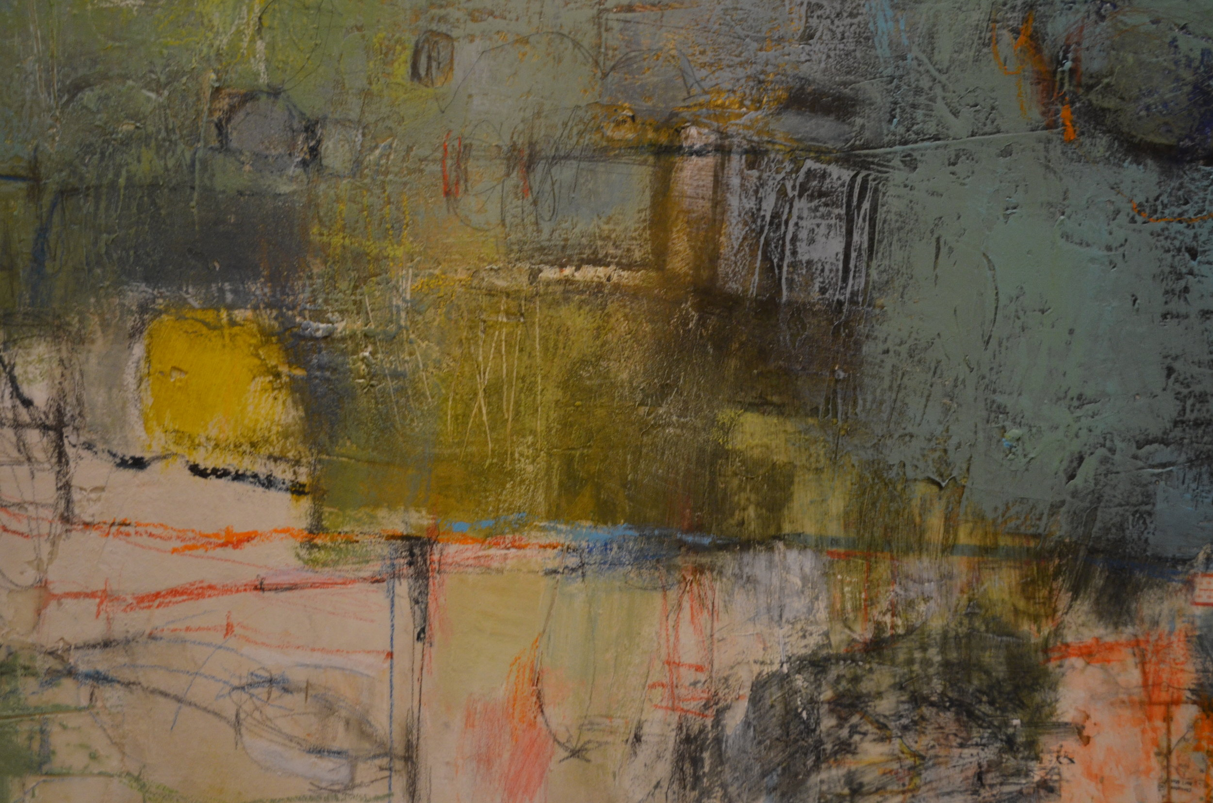 mixed media on canvas by tamar kander, edge of spring, texture close up images