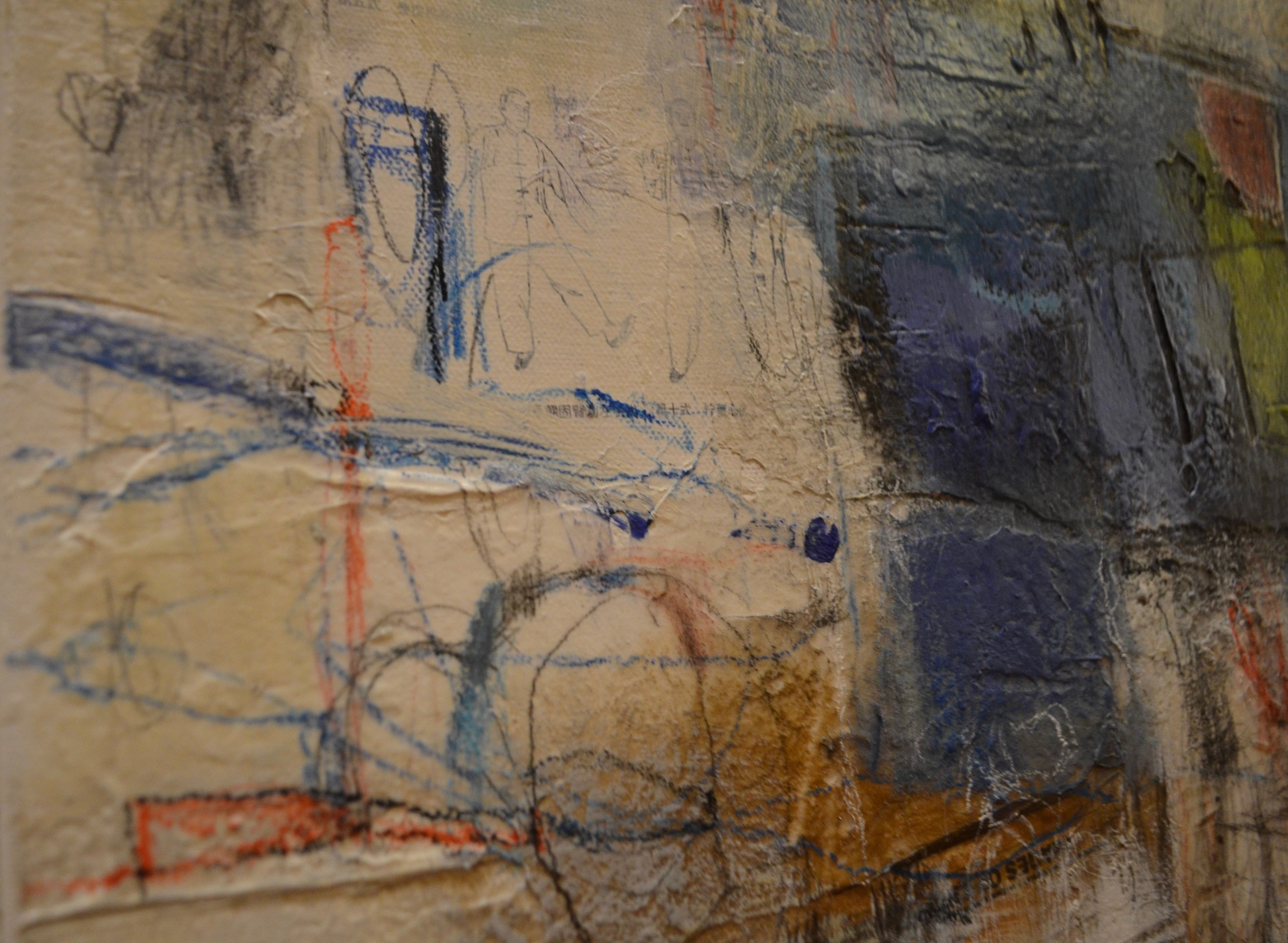 mixed media on canvas by tamar kander, human touch, additional images showing texture