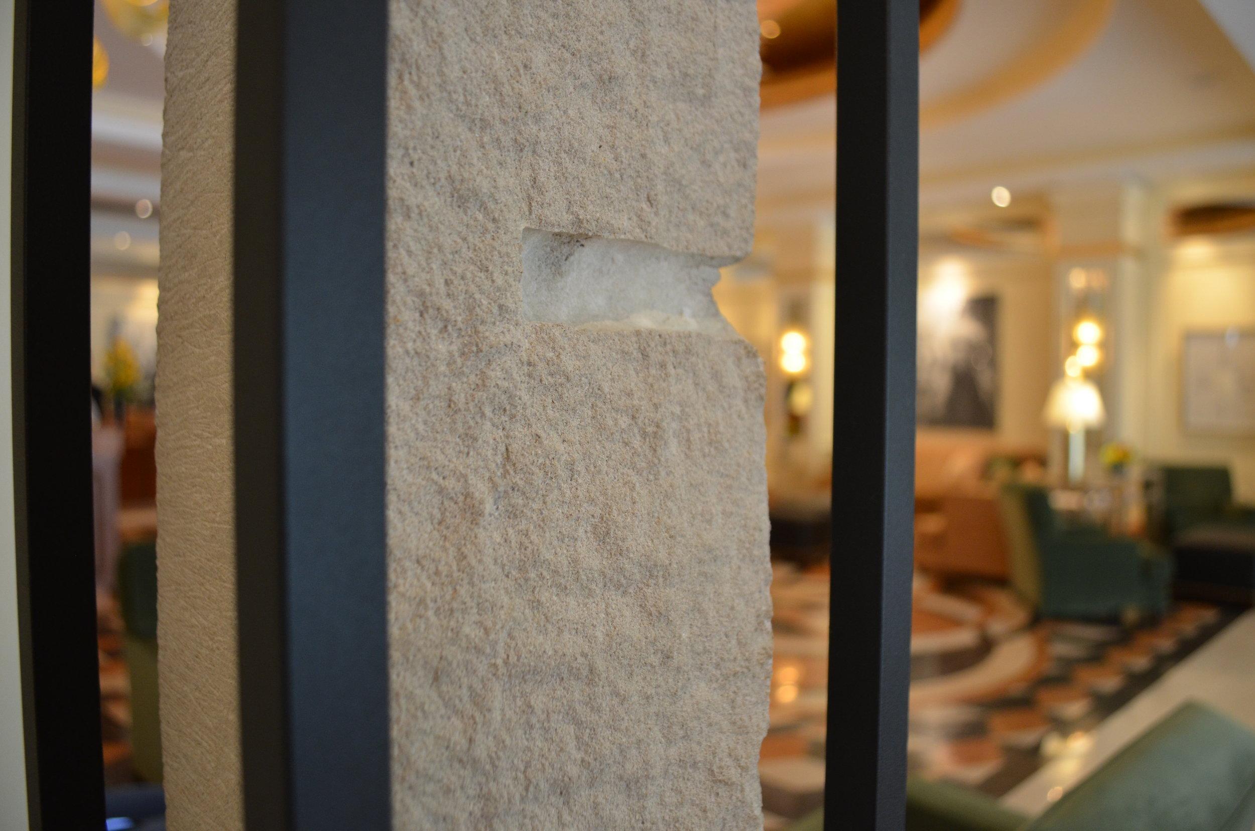 detail image of dale enochs' 215 lbs limestone sculpture