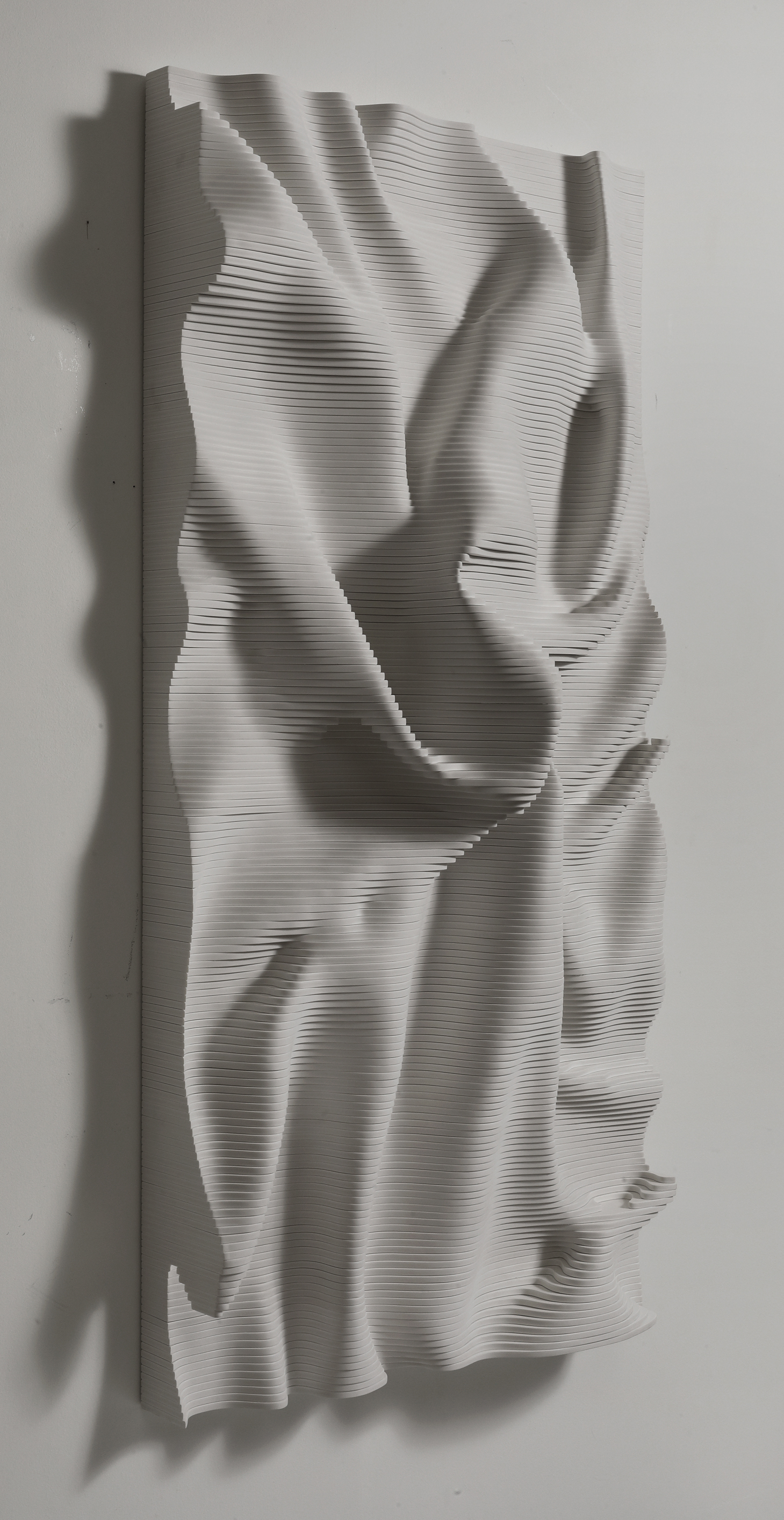 engineered wood wall hanging sculpture in black by cha jong rye