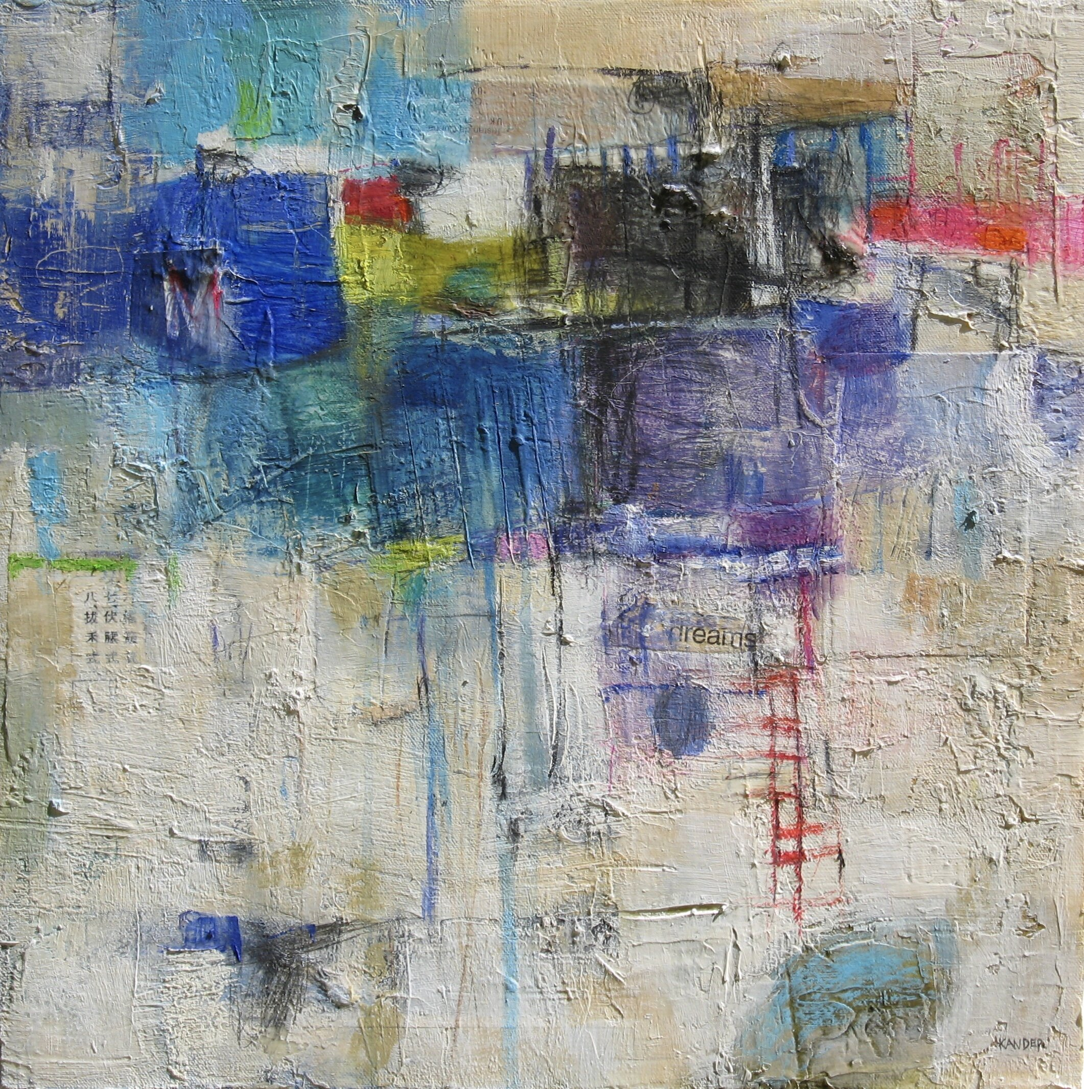 mixed media on canvas by tamar kander, edge of spring