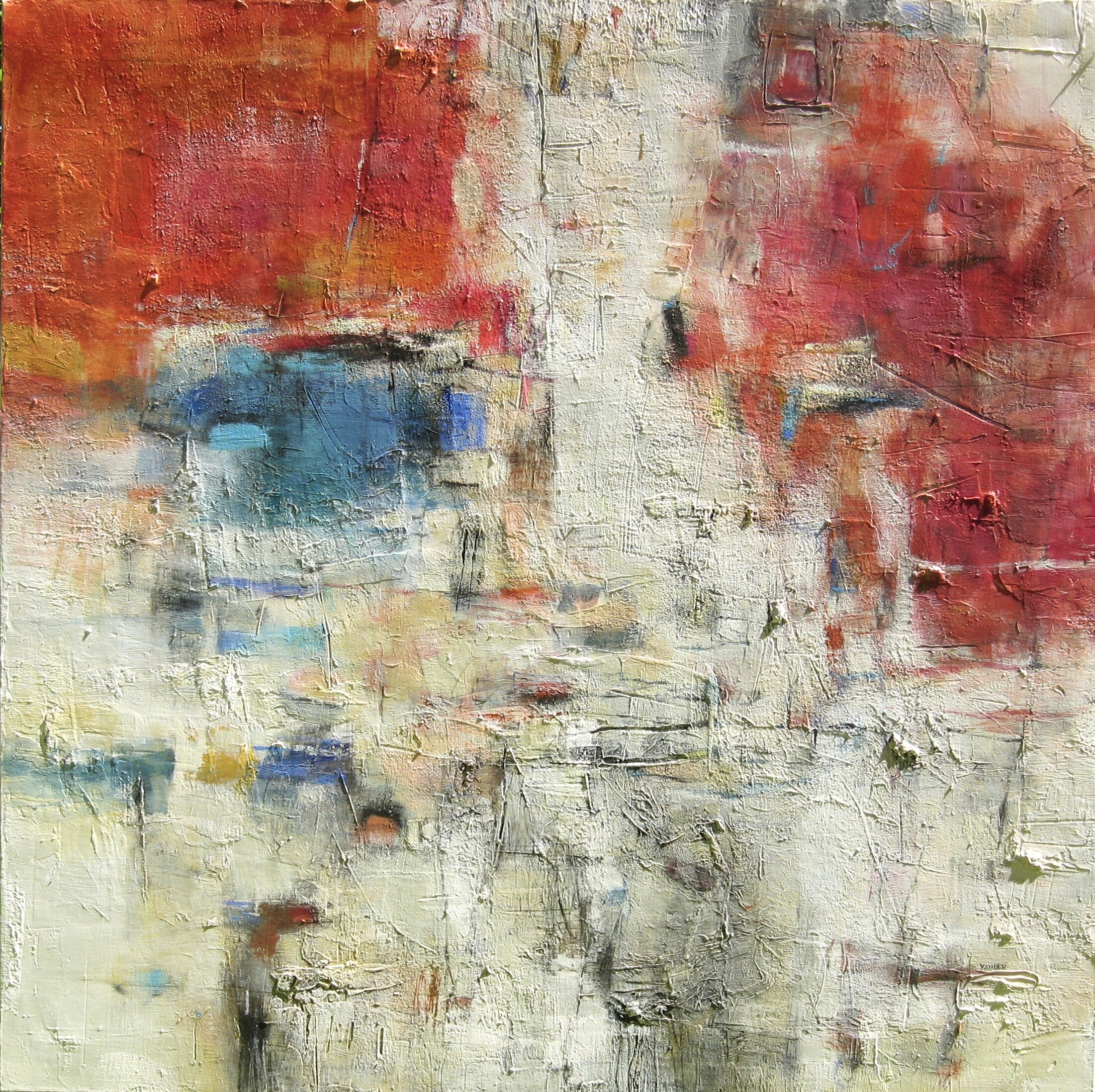 mixed media work on canvas by tamar kander, titled  Pond