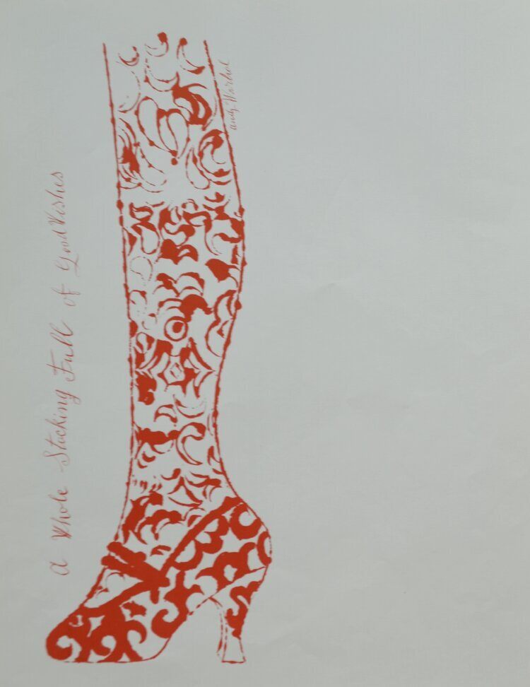 an offset lithograph on paper of a stocking in red by Andy Warhol