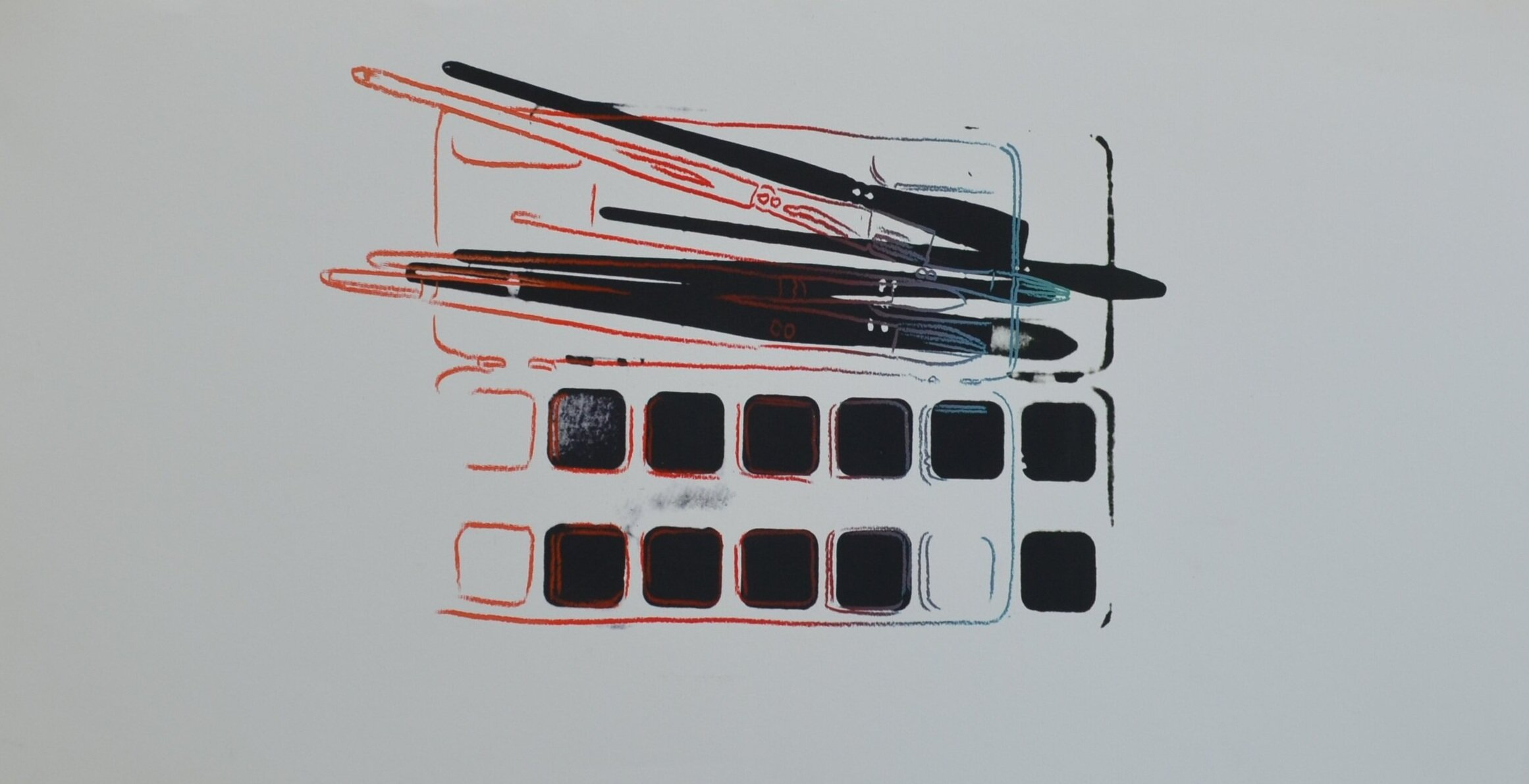 screenprint of a Watercolor Paint kit with Brushes by Andy Warhol