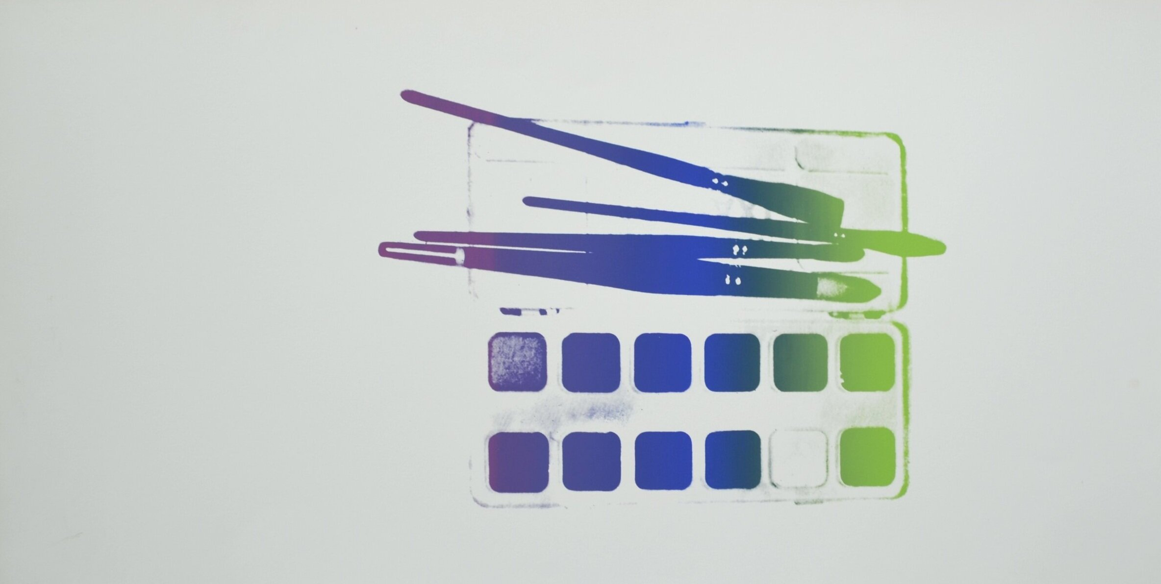 screenprint on museum board of a watercolor paint kit with brushes by andy warhol