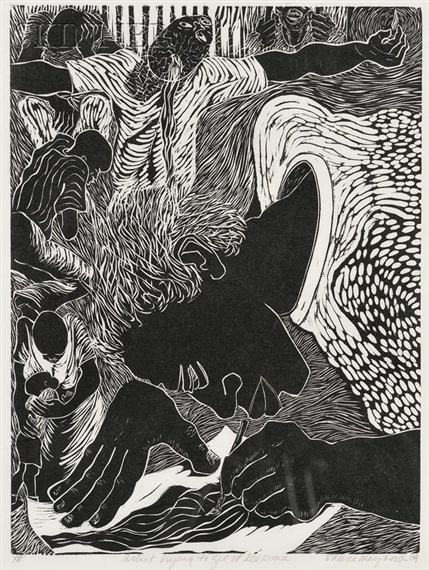 The Artist Trying to Get It All Down, linocut, Valerie Maynard