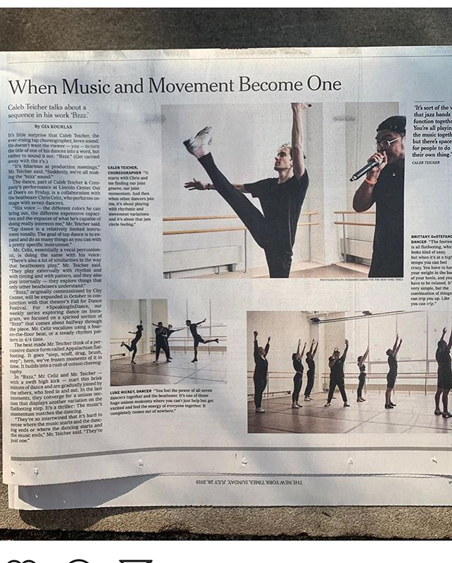 Did you catch #CTandCo 's feature in Sunday's @nytimes ? Big thanks to @giadk and @mosadek for their fantastic work and, of course, the #Bzzz crew. The minute-long video will drop tomorrow on IG and the NYT website. Link to full article in my bio (IG wouldn't let me post screenshots of the whole thing, so you miss some photos and @luke_hickey_ 's great quote at the end 🧐) #TapDance #NYC #flatfoot #percussivedance #dance #newyorktimes #artsandleisure #emphasisontheleisure