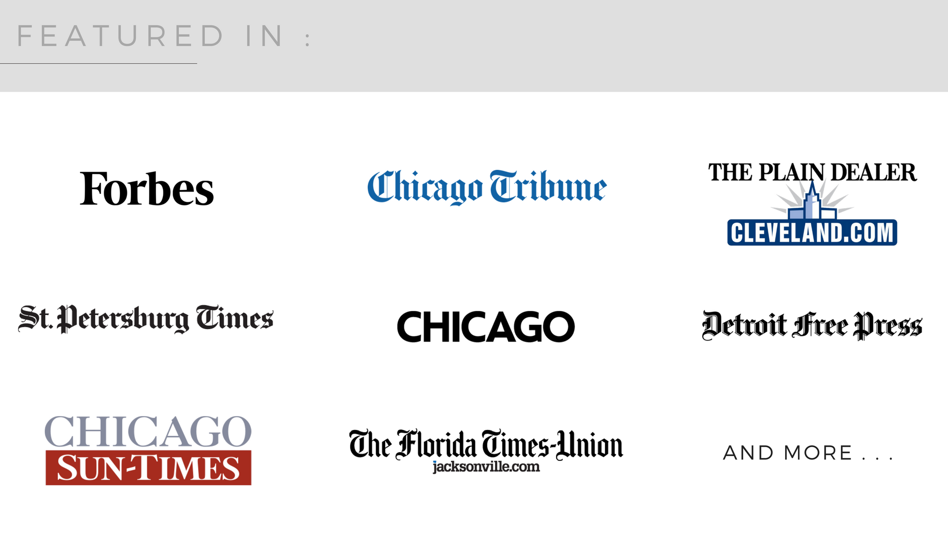 Forbes Chicago Tribune The Plain Dealer St Petersburg Times Chicago Magazine Chicago Sun Times Detroit Free Press Real Estate Articles