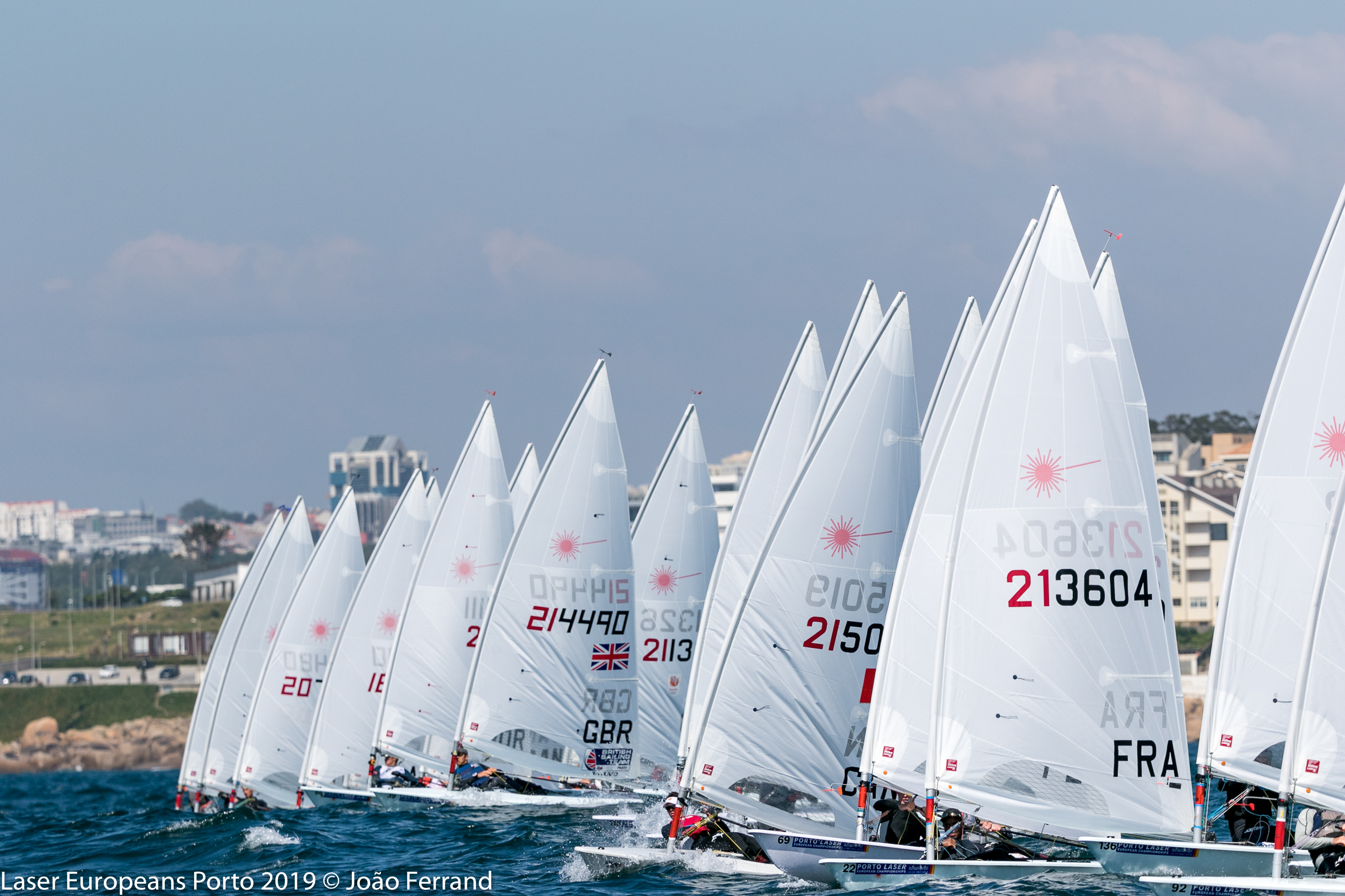 Good starts were my goal and they were key to doing well. This photograph captures one of my starts in the qualifying races. (middle of photo - sail #215019)