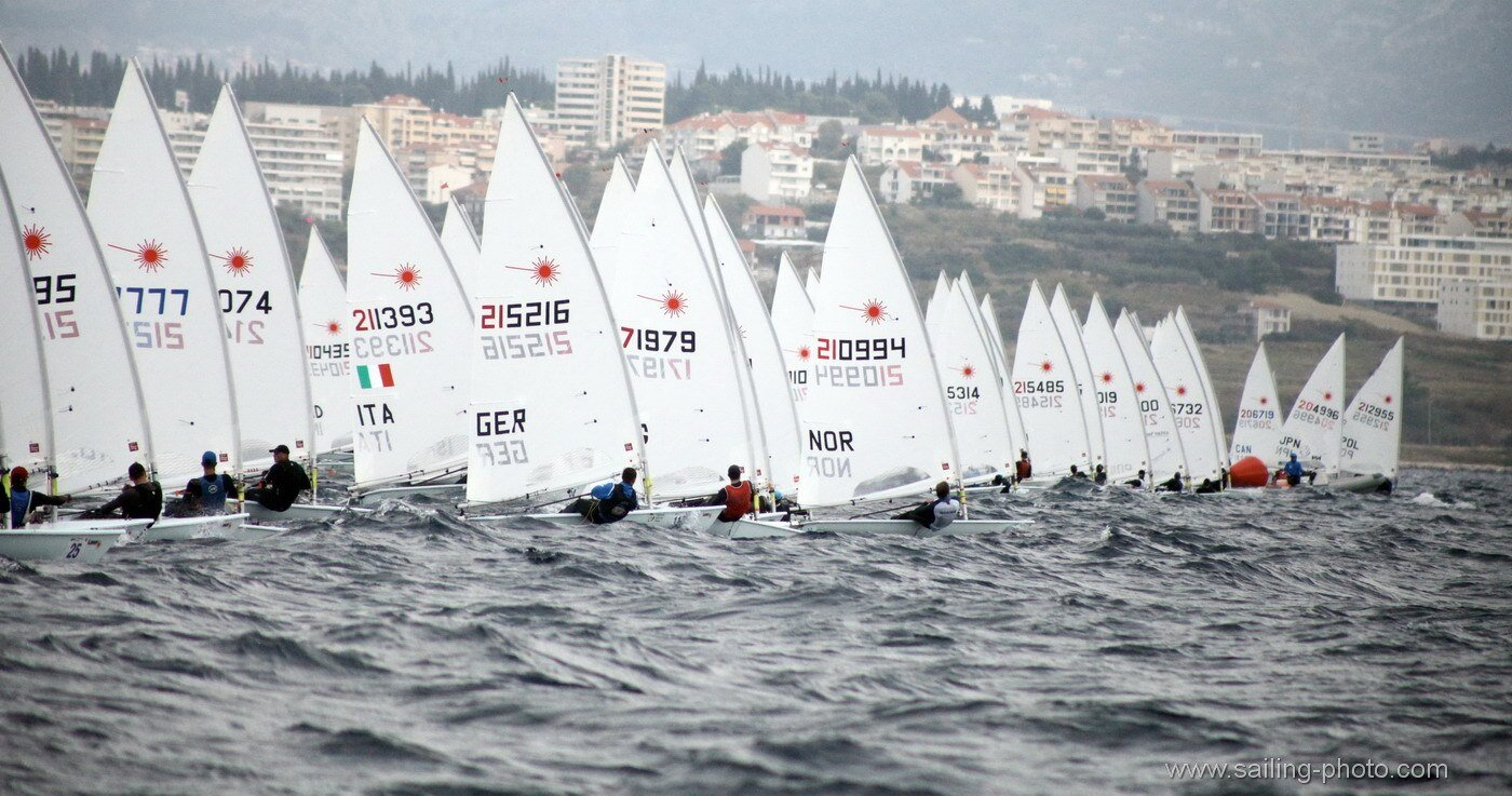 Start line on the final day - you can just see barely me at the pin end for this one (215019) PHOTOS:    ILCA Laser Under 21 Worlds Media