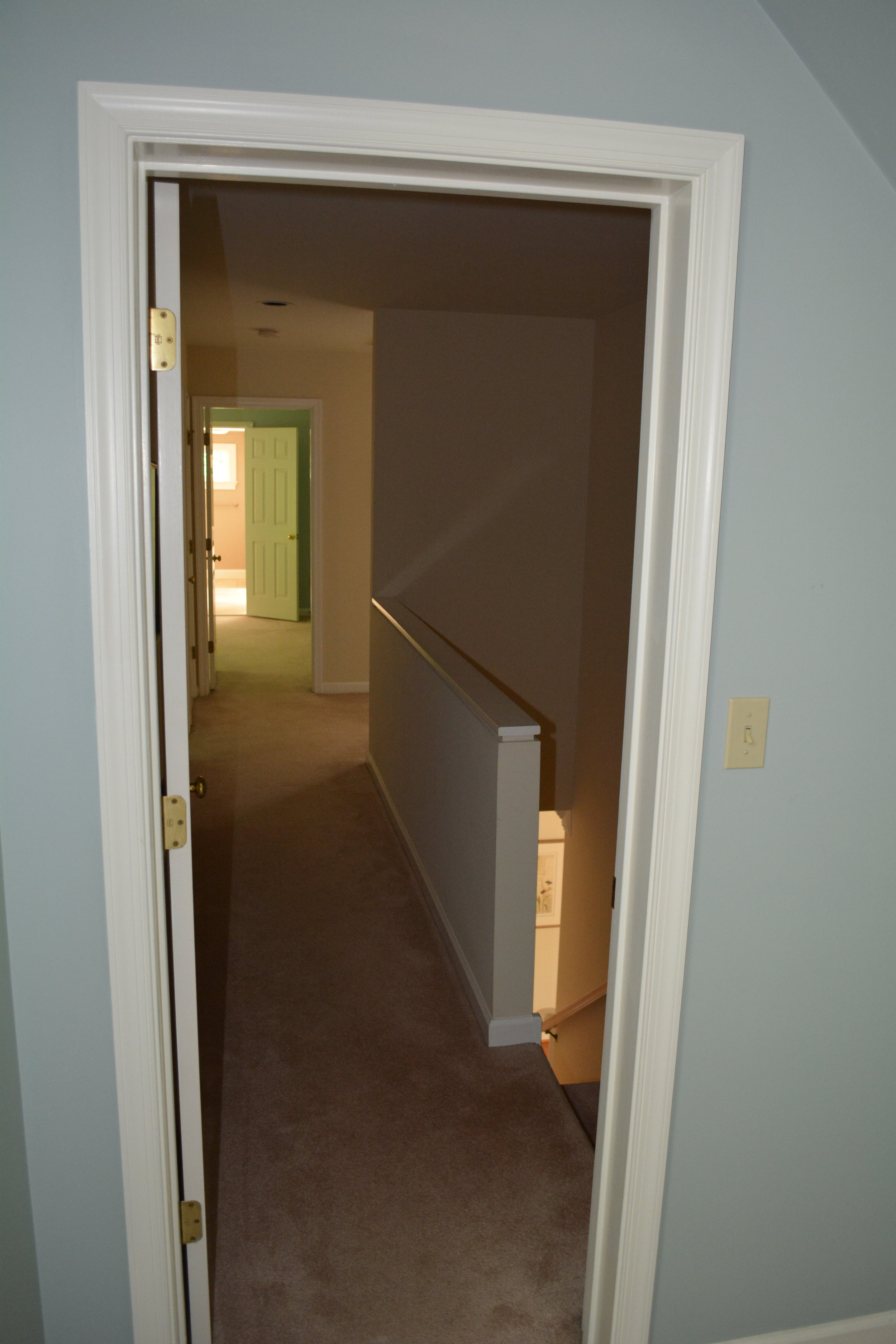 Foyer stairwell, standing in office