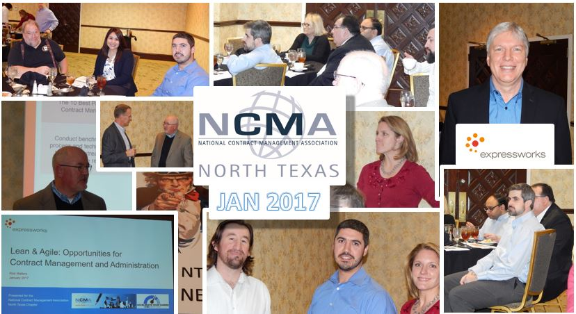 "JANUARY 2017. RICK WALTERS FROM EXPRESSWORKS PRESENTED ON ""LEAN & AGILE CONTRACT MANAGEMENT"". DALLAS, TX."