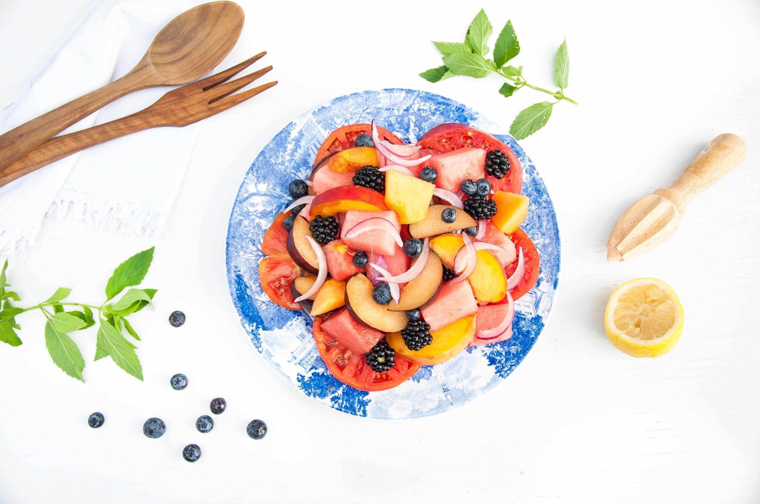 summer fruit + heirloom tomato salad - fried parsley