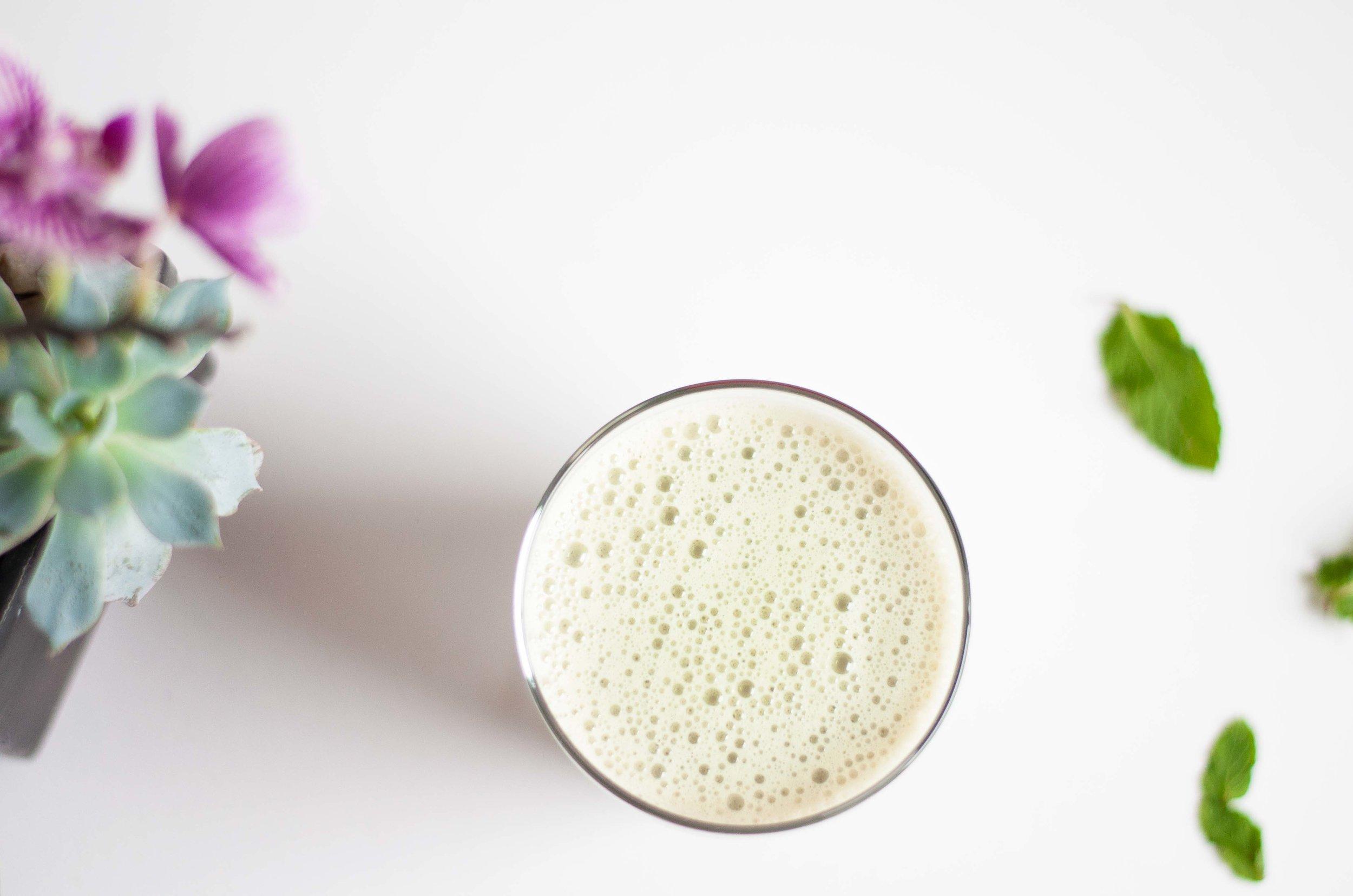 shaken matcha latte - fried parsley