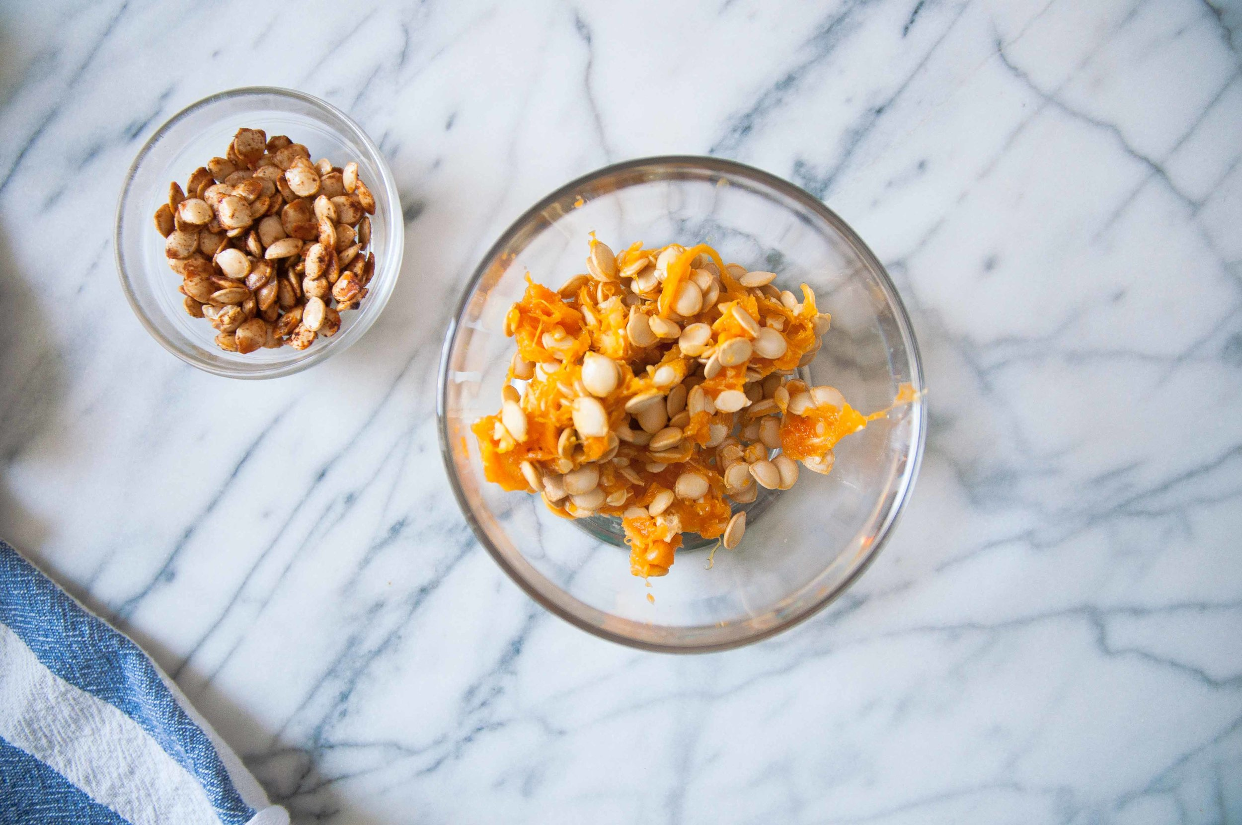 Don't throw away squash seeds! Roast + use in the salad :)