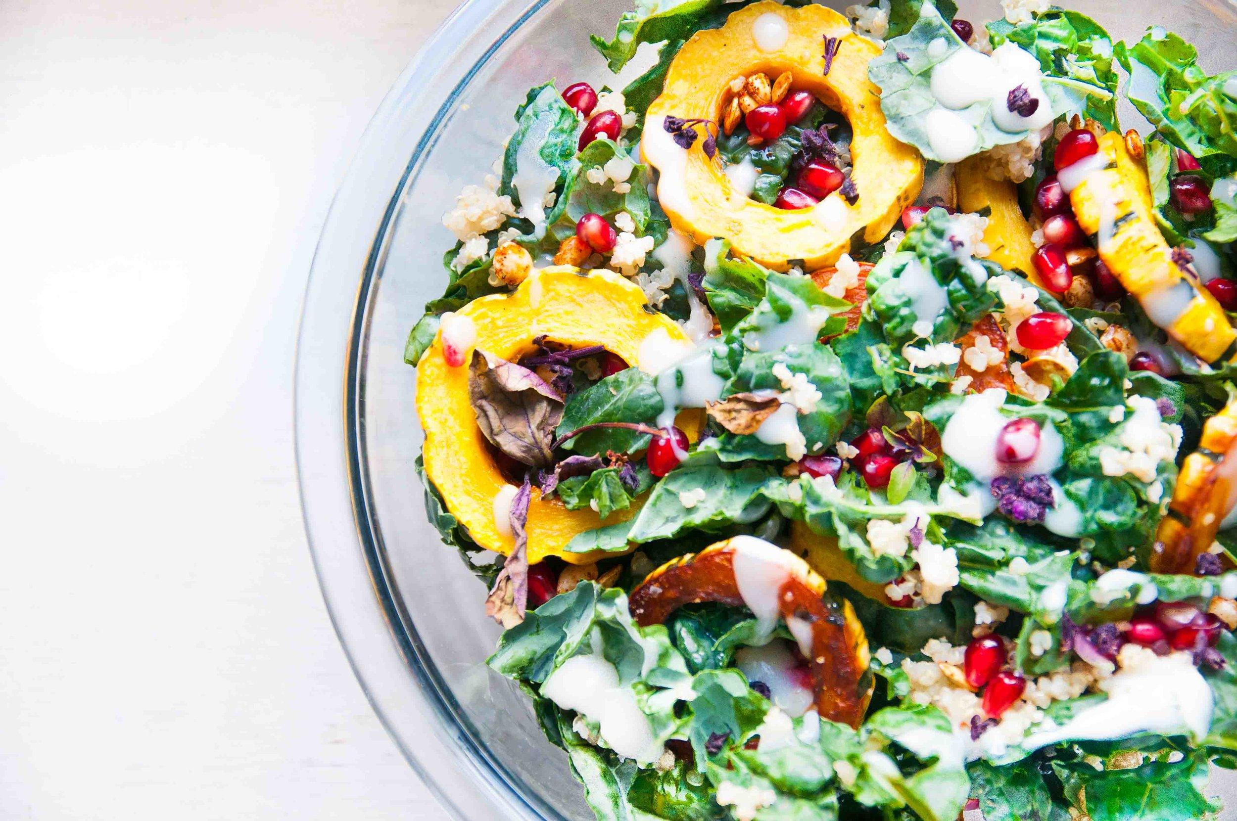 delicatat squash + kale salad -fried parsley