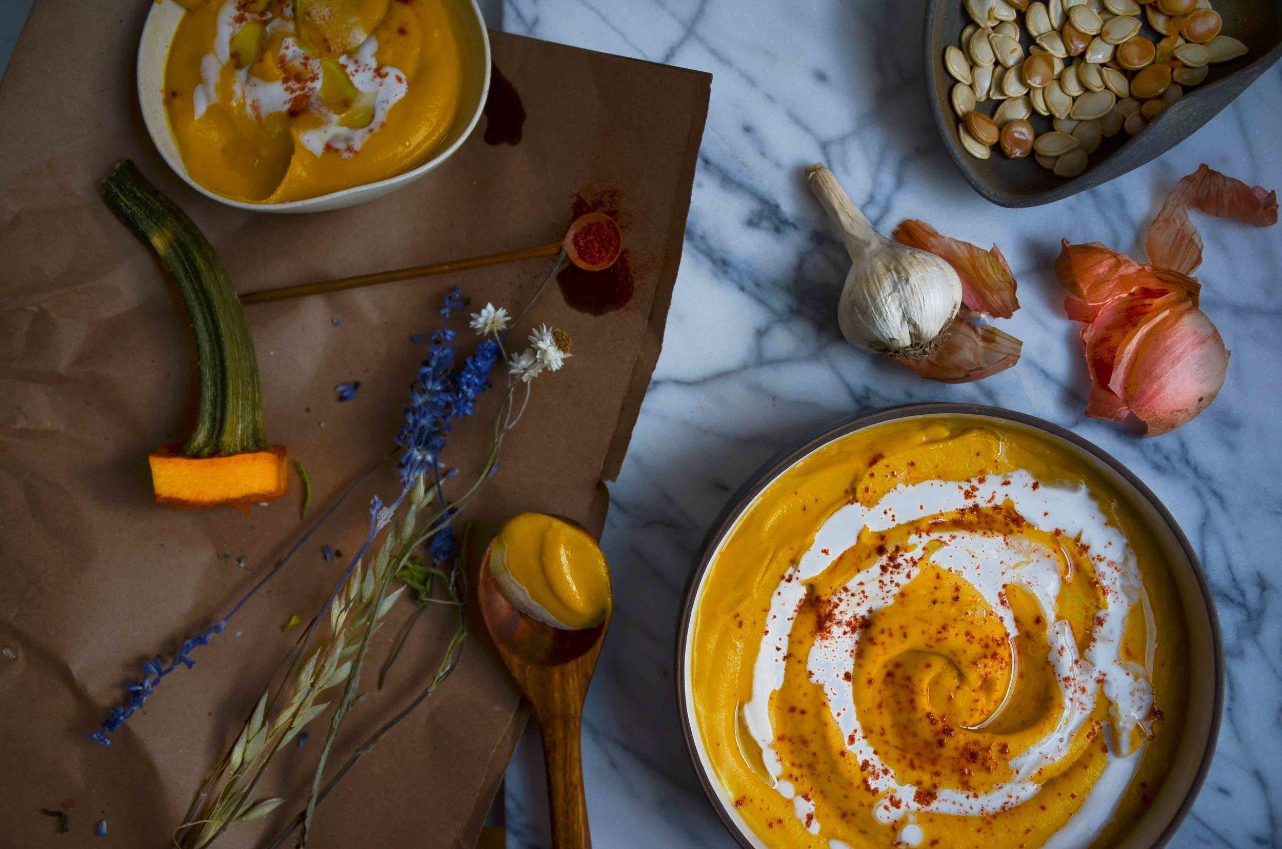 pumpkin coconut soup - fried parsley