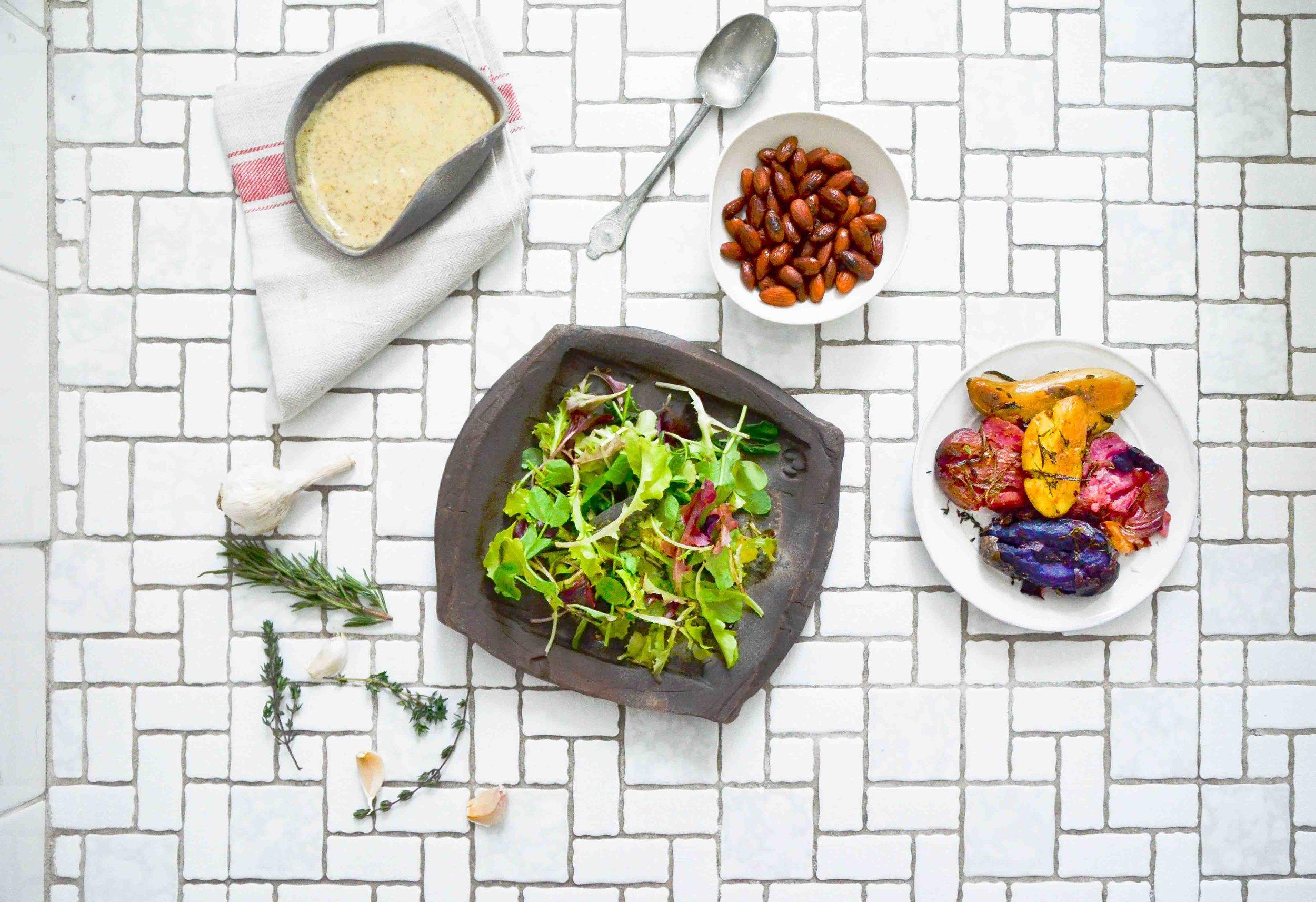 smashed potato + greens salad -fried parsley