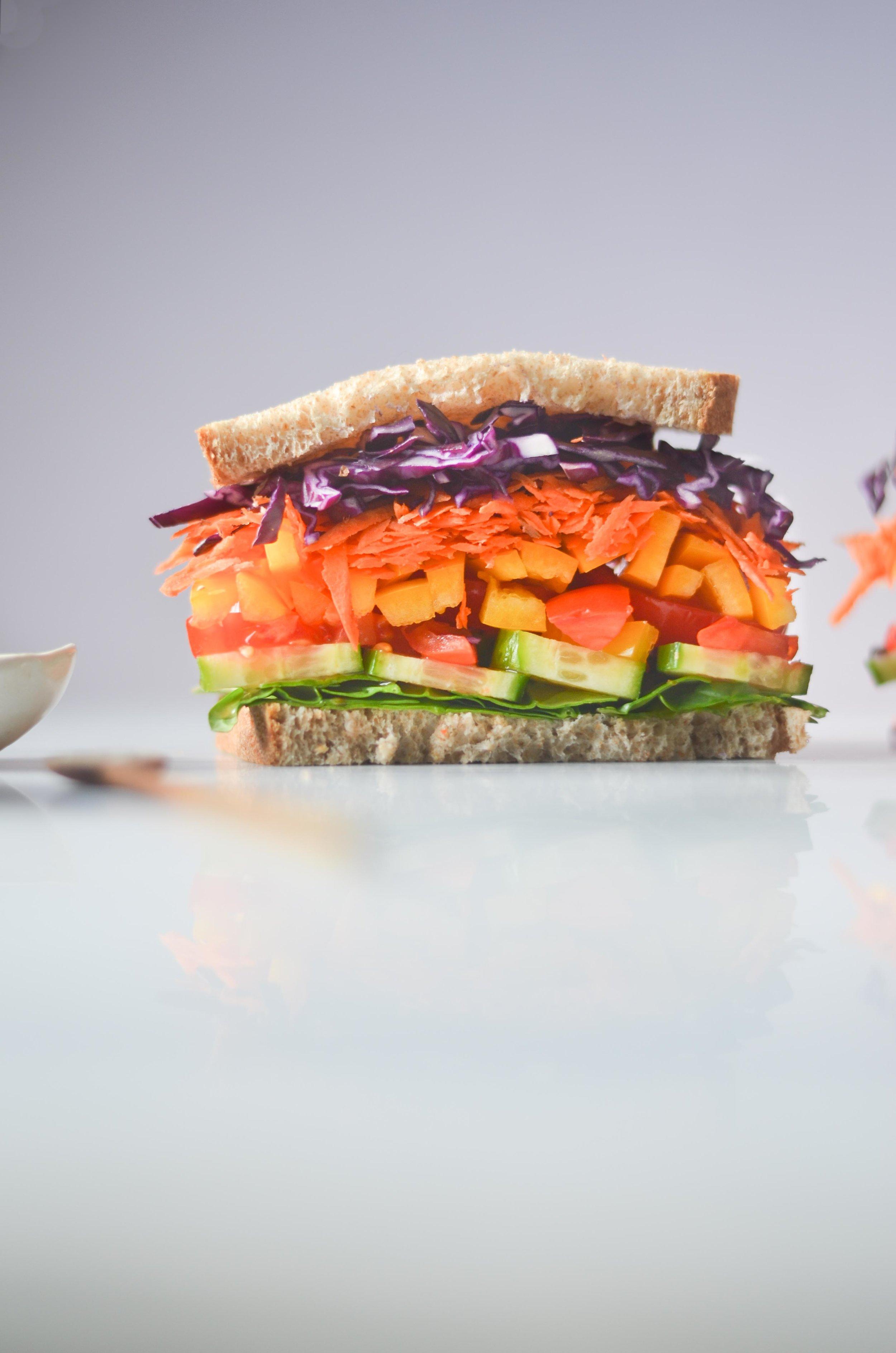 rainbow veggie sandwich by fried parsley