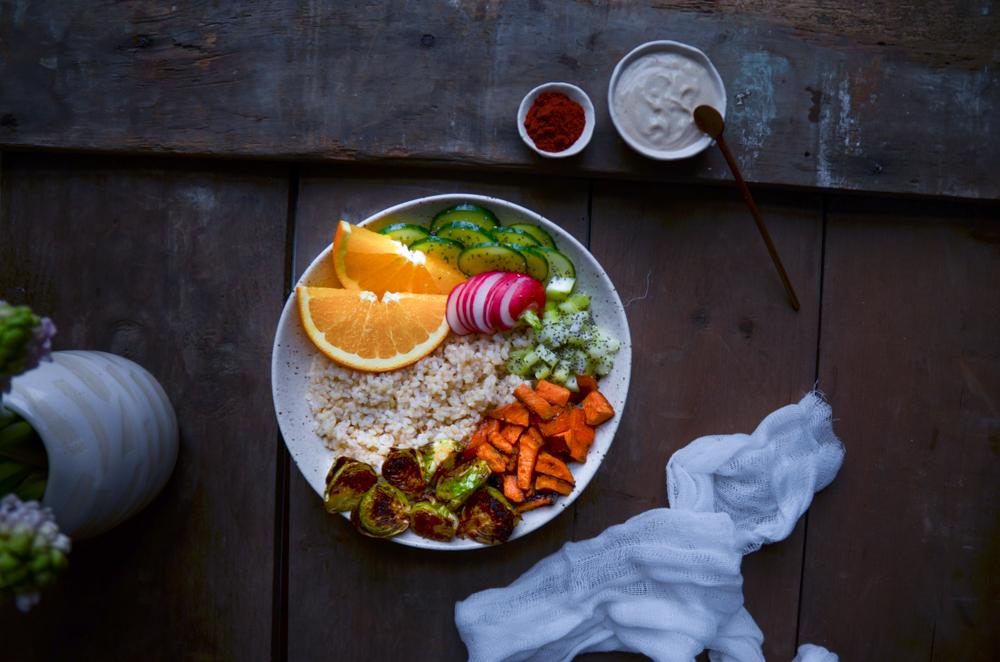 rainbow buddha bowl by fried parsley