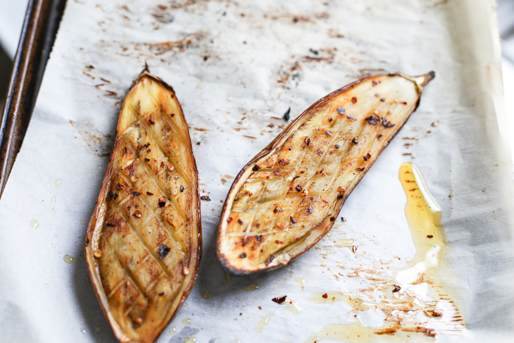 whole roasted eggplant ~ friedparsley.com