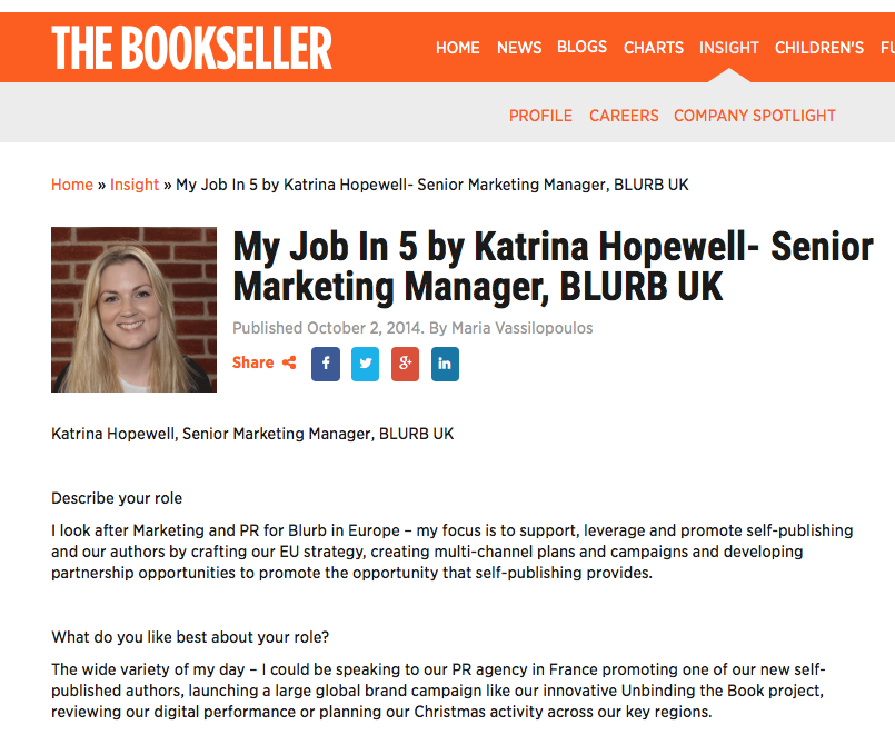 The Bookseller feature - My Job in 5