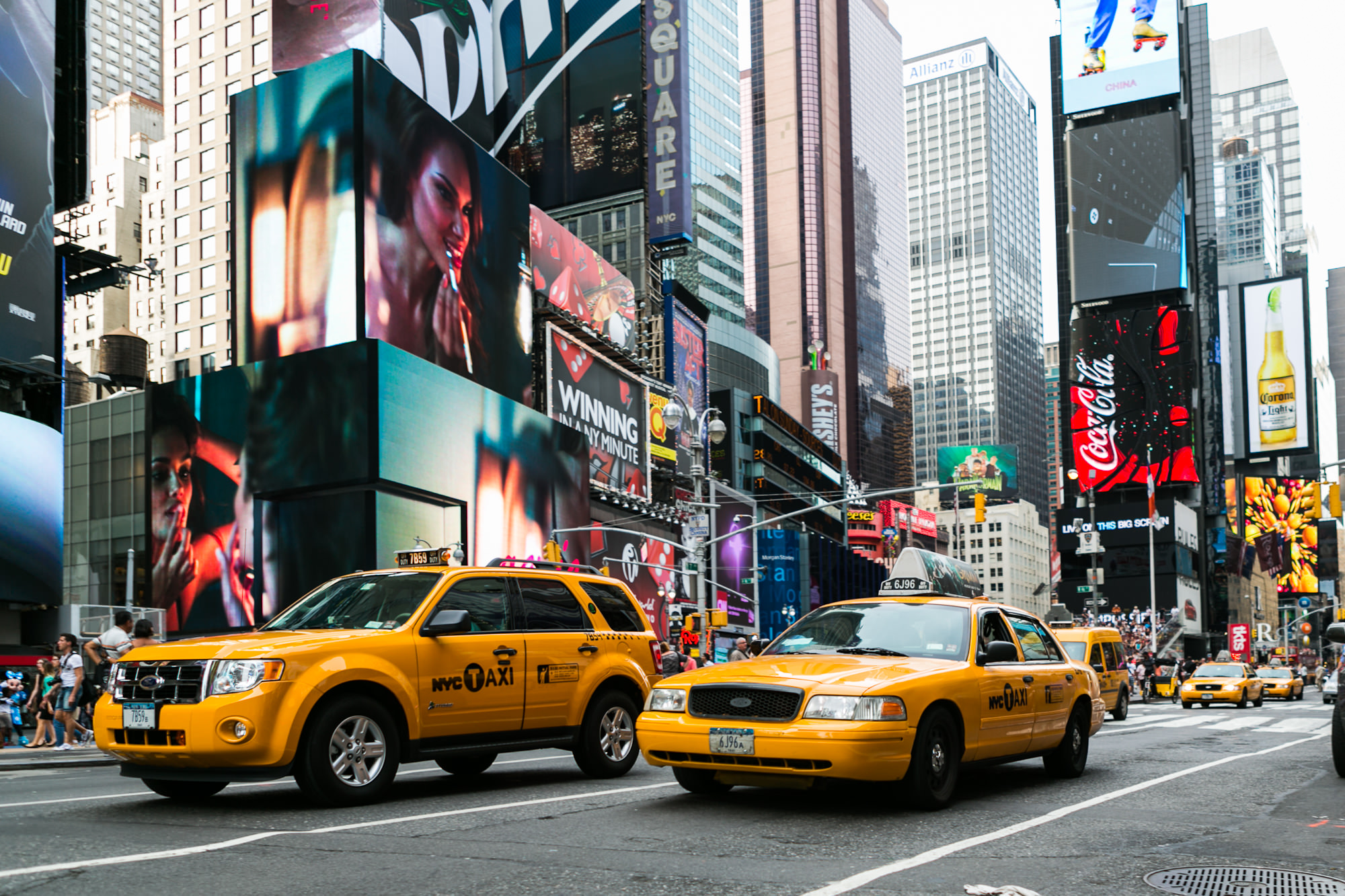 New York's famous Time Square, ads and yellow taxis everywhere
