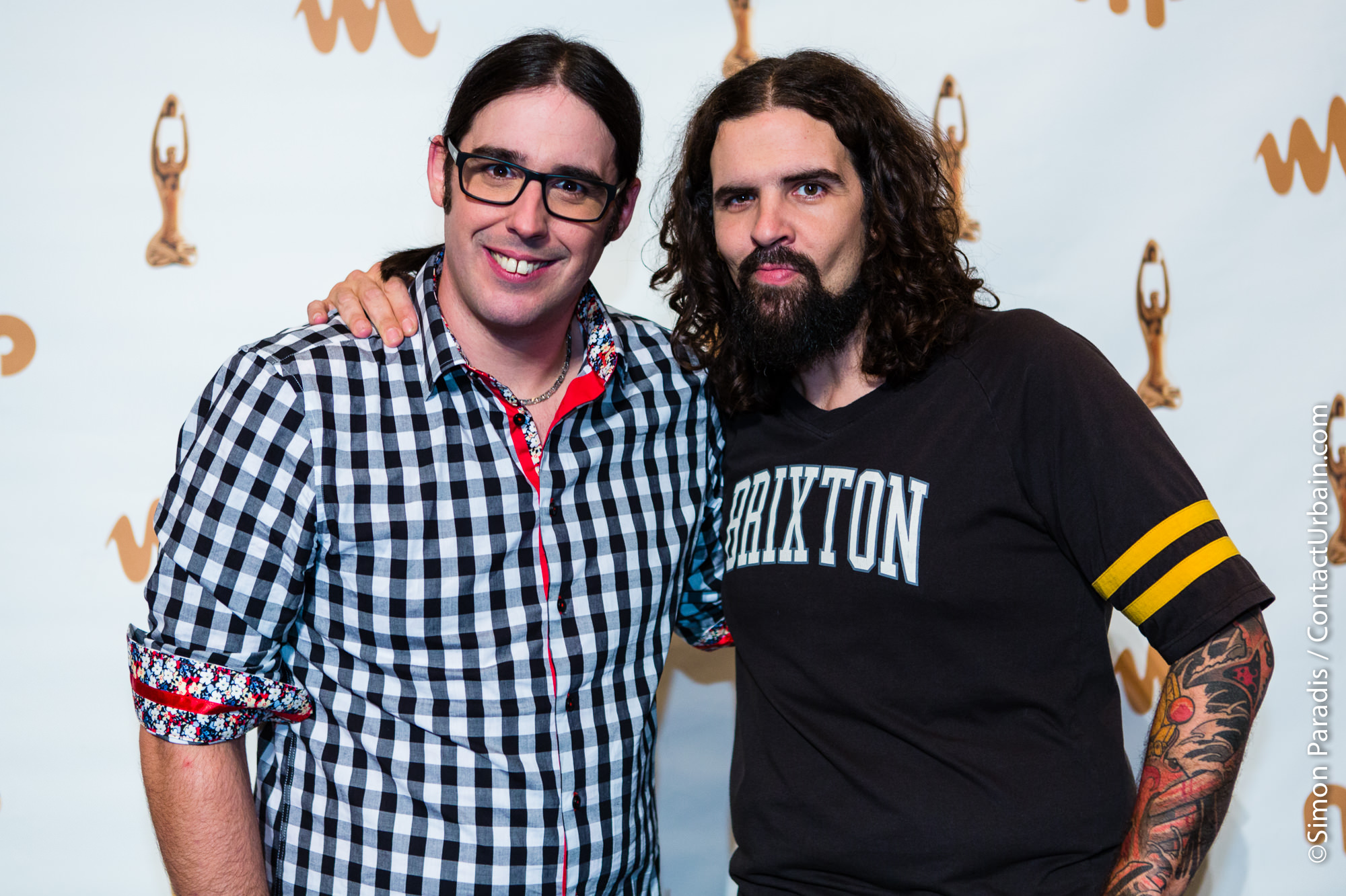 Les Denis Drolets, animateurs du Gala,à la Salle de Presse de l'Autre Gala de l'ADISQ à la Place des Arts de Montréal, 2014