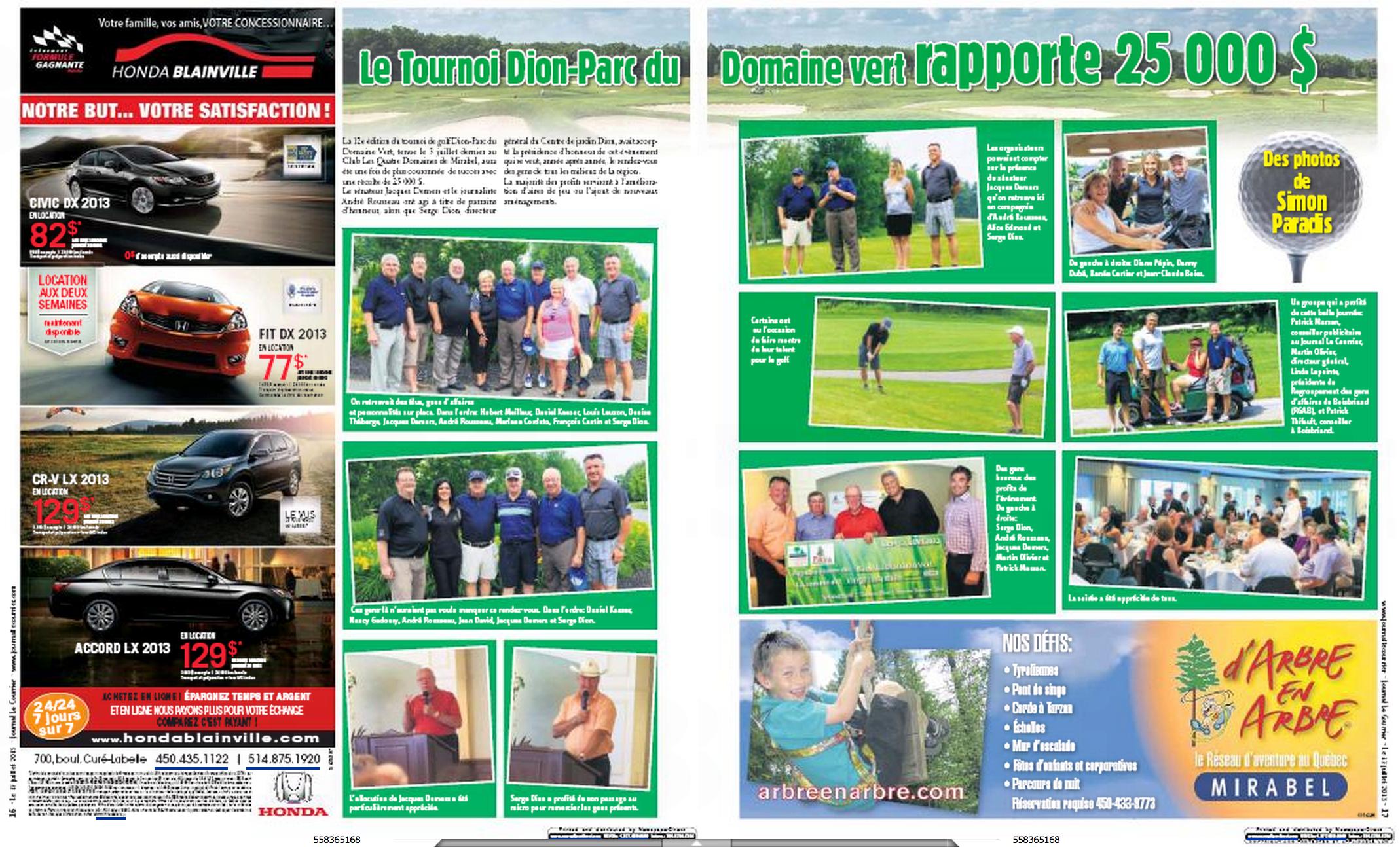 Publication 2 pages pour Transcontinental, Journal Le Courrier, pour le tournoi de golf Dion 2013