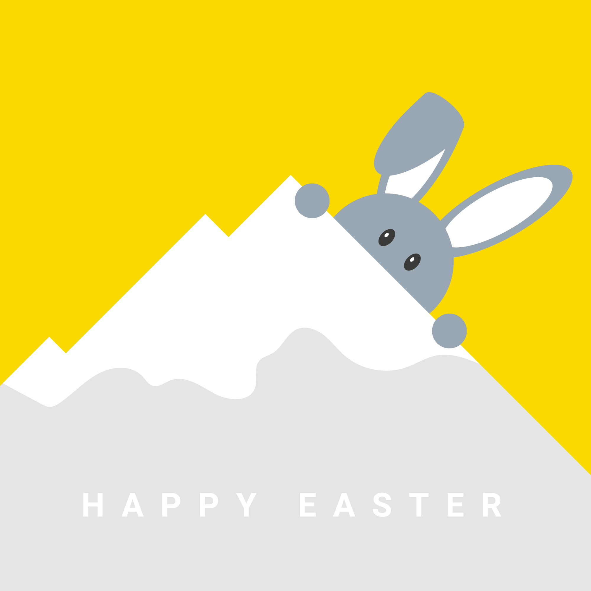 Easter bunny in the snowy mountains