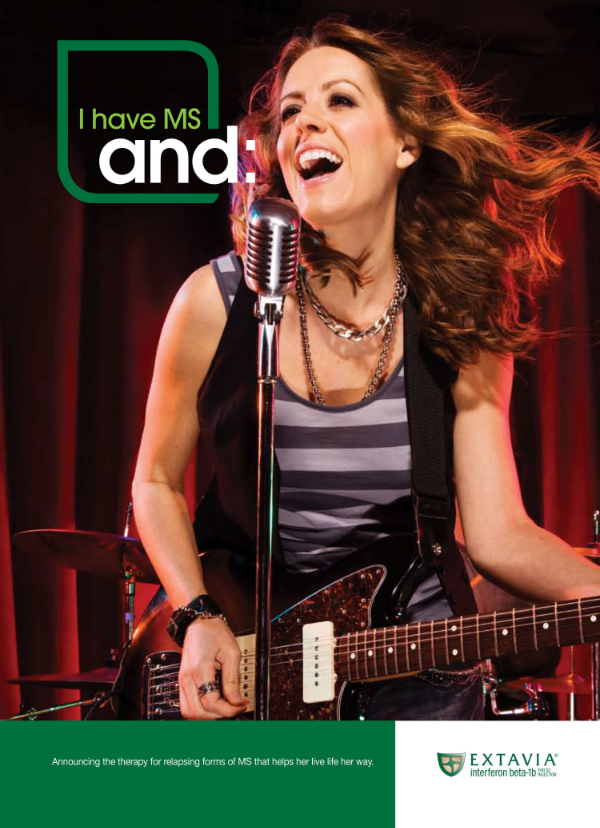 "Emily appeared as the ""musician with MS"" for much of the Extavia marketing materials and trade press."