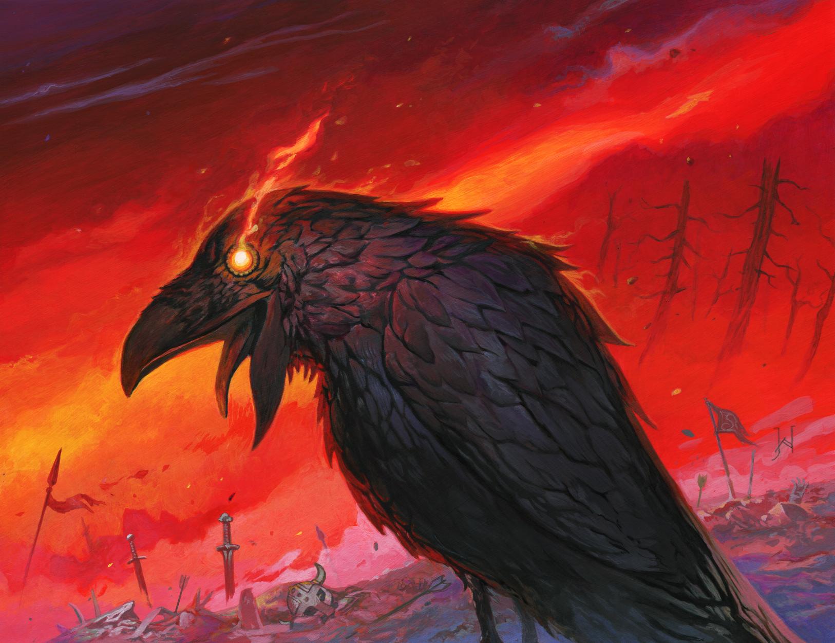 "Huginn (pronounced ""HOO-gin""), one of Oden's ravens"