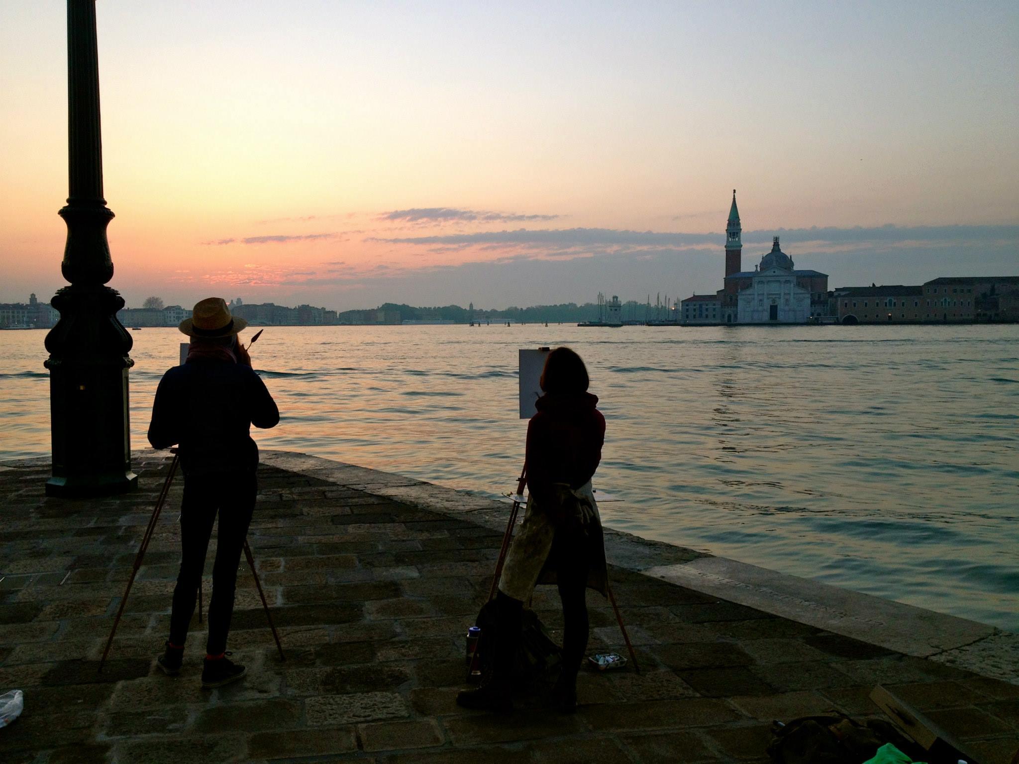 Marian and Rebecca paint sunrise in Venice.jpg