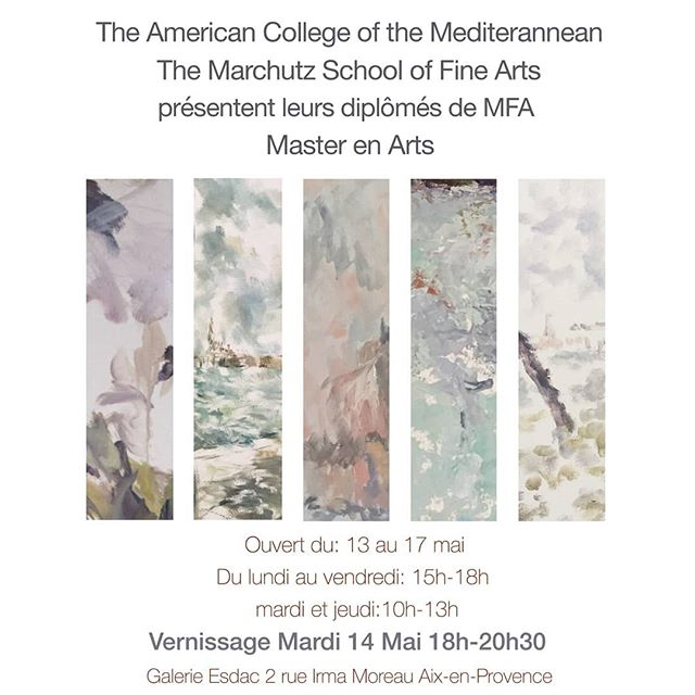 Come see the work of our five MFA graduates!  They will be exhibiting work from their two years of study with The American College of the Mediterranean, Marchutz School of Fine Arts. We would love to see you at our Vernissage this Tuesday, May 14th from 18h to 20h30. #marchutzmfa #artshow #mfa #art #aixenprovence